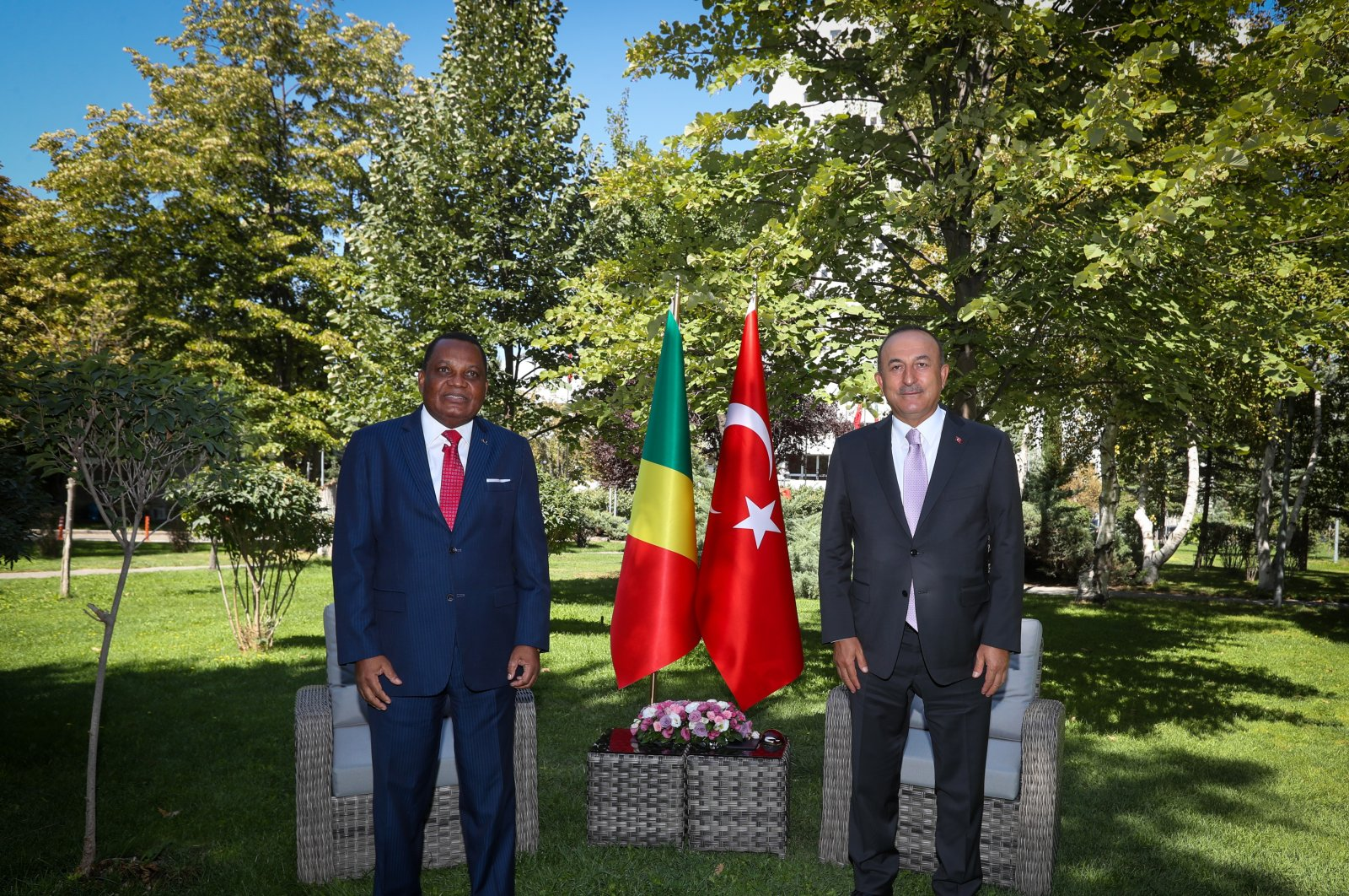 Foreign Minister Mevlüt Çavuşoğlu with Congolese counterpart Jean-Claude Gakosso in Ankara on Sept. 8, 2020. (AA Photo)