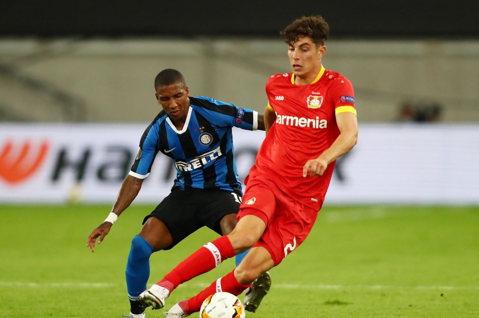Kai Havertz (R) became the summer season's most expensive transfer after Chelsea agreed to pay a reported fee of 62 million pounds for his move. (Reuters Photo)