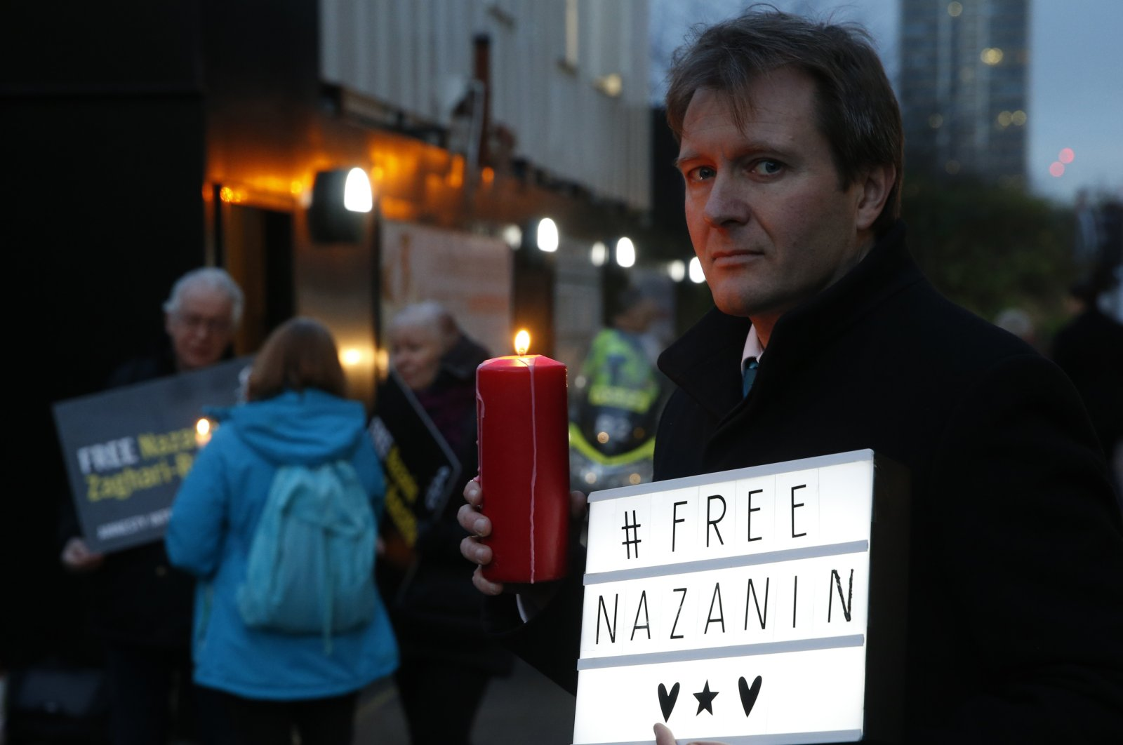 In this Jan. 16, 2017 file photo, Richard Ratcliffe, husband of imprisoned British-Iranian dual national Nazanin Zaghari-Ratcliffe, poses during an Amnesty International led vigil outside the Iranian Embassy in London. (AP Photo)