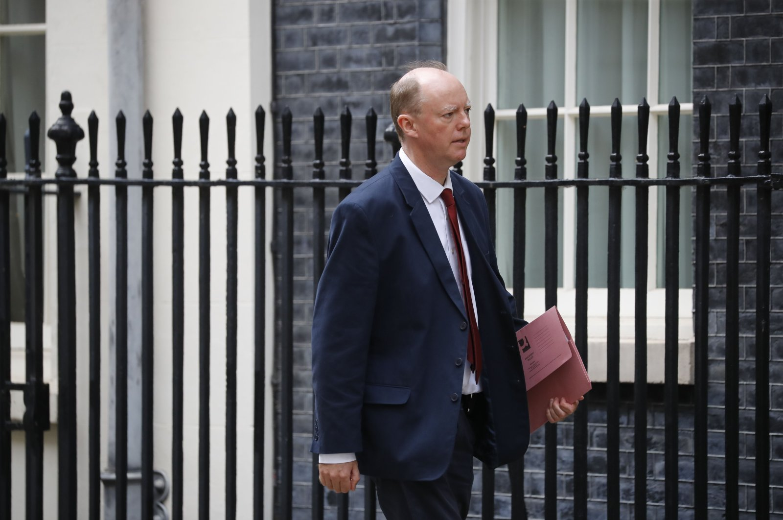 Britain's Chief Medical Officer for England Chris Whitty arrives at 10 Downing Street in London, Sept. 8, 2020. (AFP Photo)
