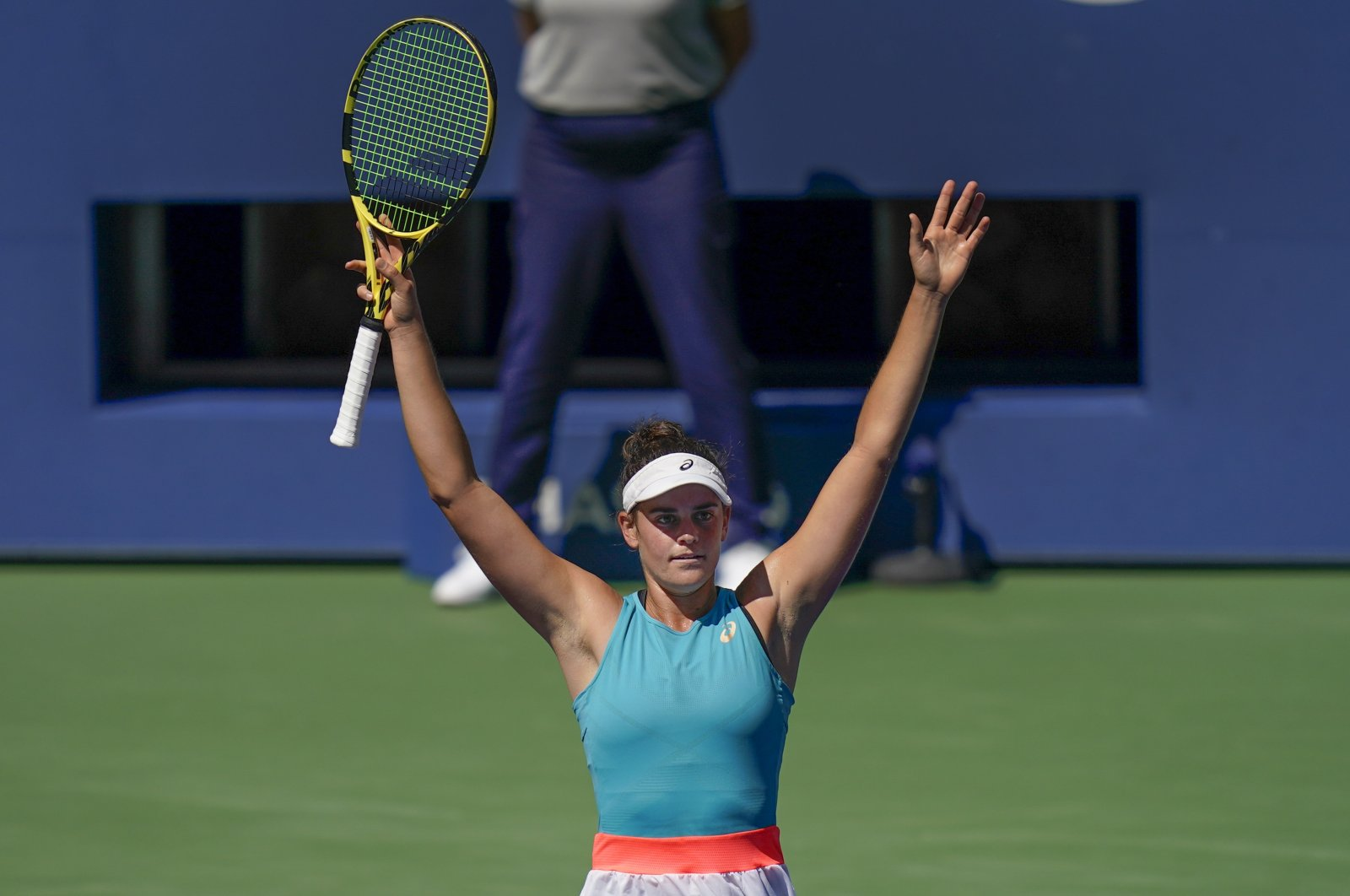 United States' Jennifer Brady reacts after defeating Kazakhstan's Yulia Putintseva during the US Open quarterfinals, in New York, Sept. 8, 2020. (AP Photo)