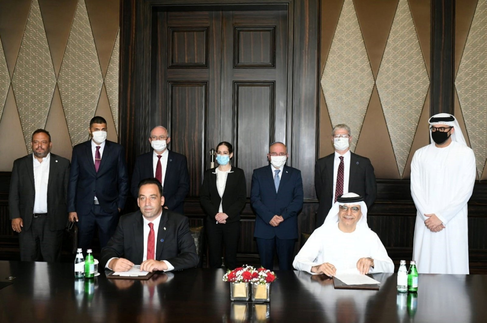 Israeli National Security Advisor Meir Ben-Shabbat stands as the Israeli and Emirati officials sign documents in Abu Dhabi, United Arab Emirates, Sept. 1, 2020. (REUTERS Photo)