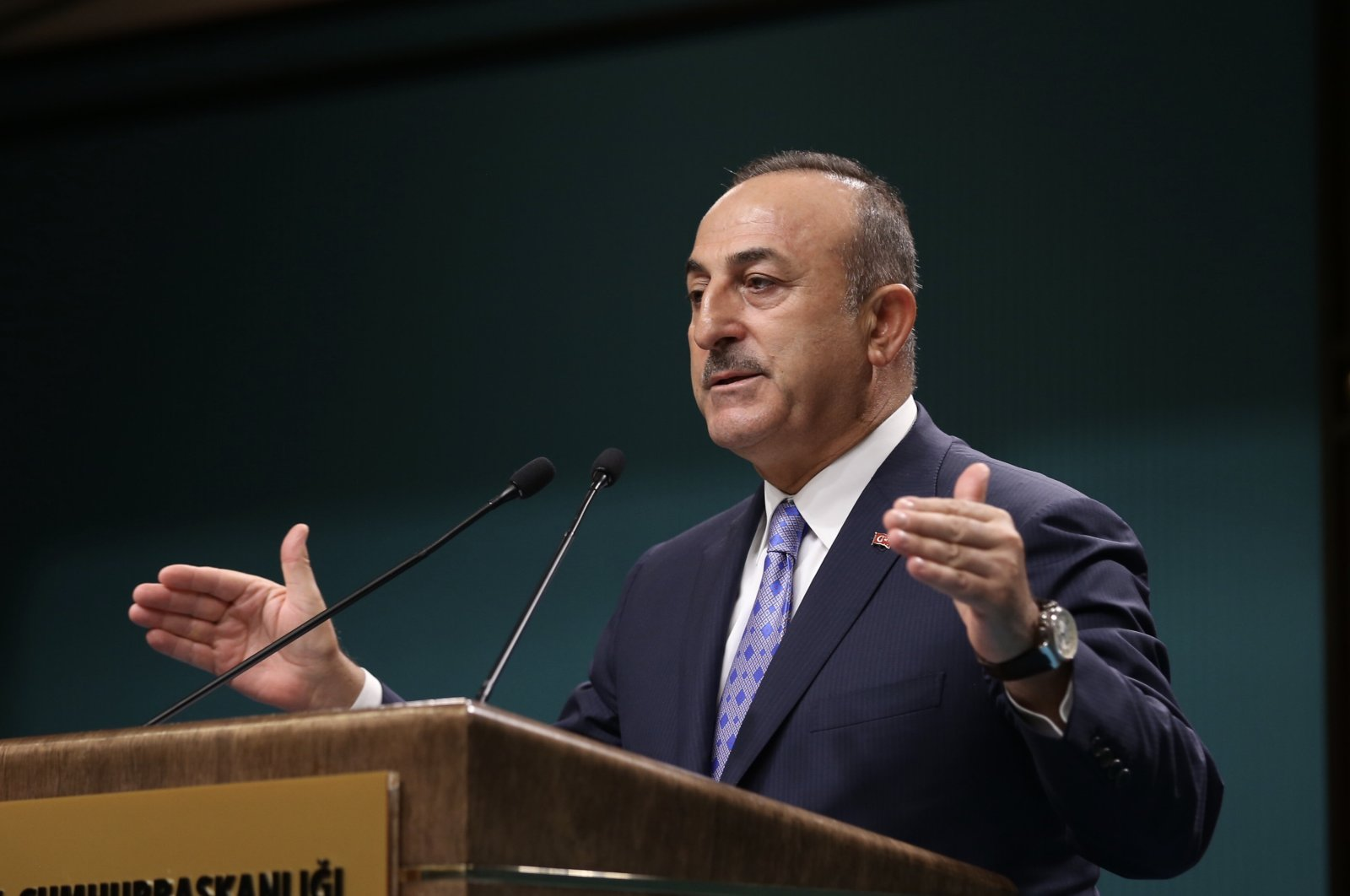 Foreign Minister Mevlüt Çavuşoğlu during a speech at the Presidential Complex in Ankara, Oct. 21, 2019 (AA Photo)