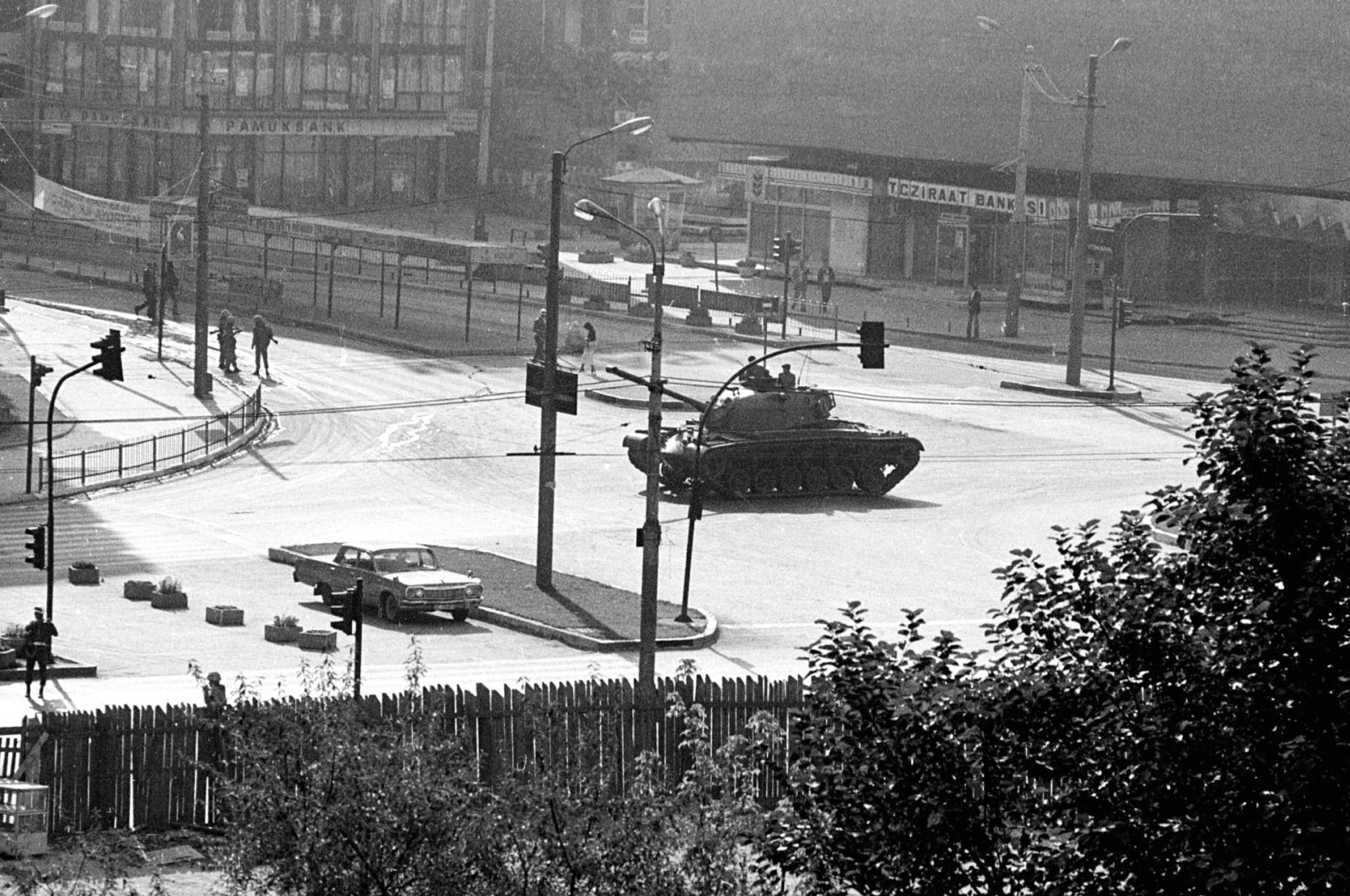 A military tank is stationed at the center of Kızılay, Ankara's main square, a few hours after a coup d'etat, Sept. 12, 1980. (AP Photo)