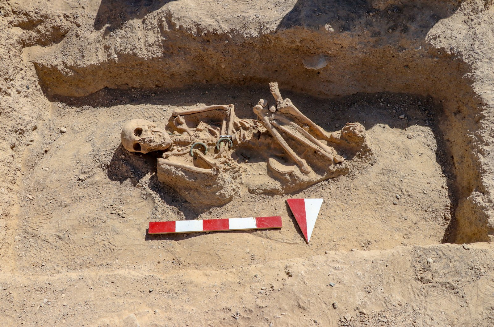 The skeleton of the Urartian woman is seen at the necropolis of the Çavuştepe Castle, Van, eastern Turkey, Sept. 8, 2020. (AA PHOTO)