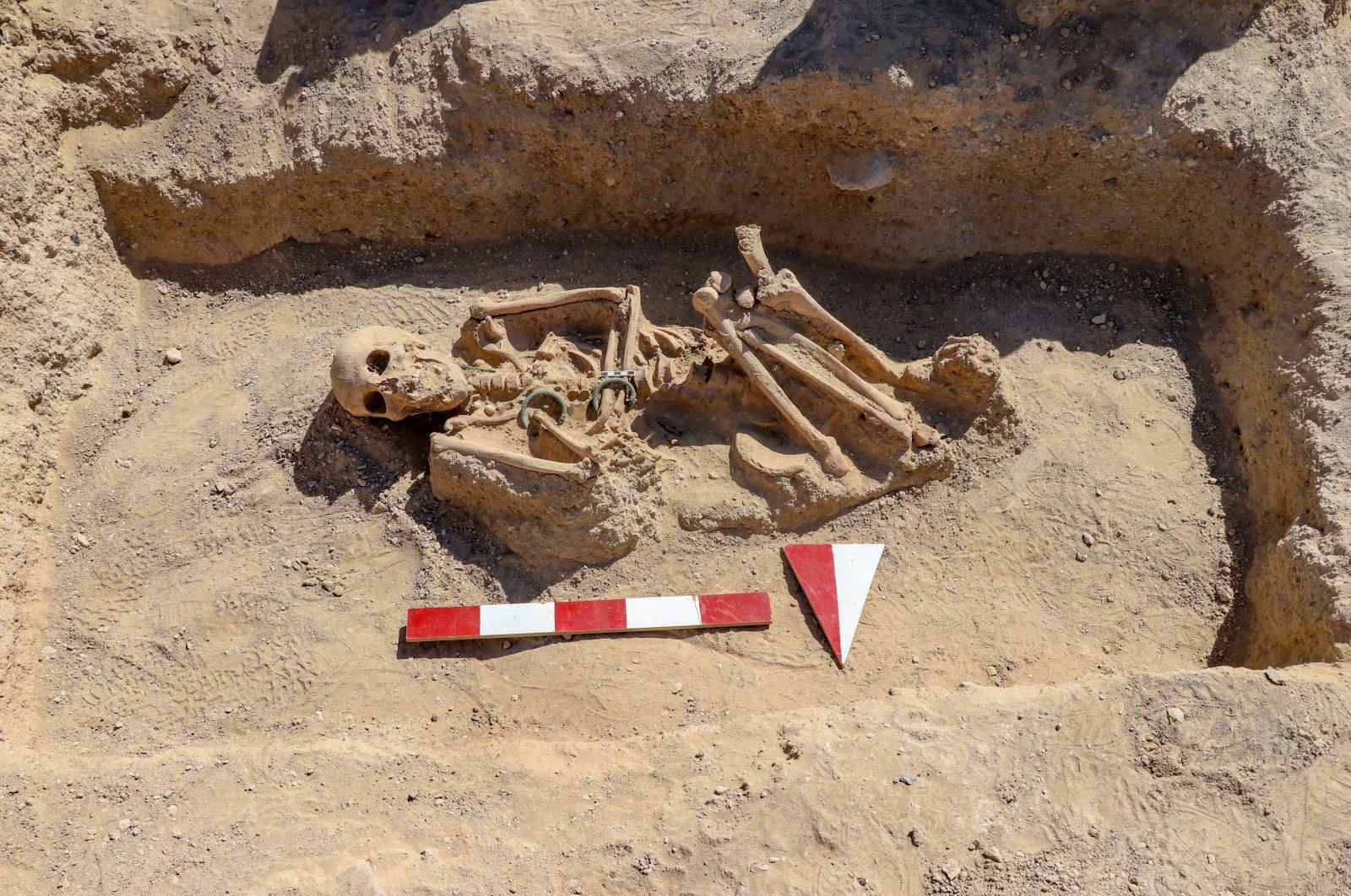 The skeleton of the Urartian woman is seen at the necropolis of the Çavuştepe Castle, Van, eastern Turkey, Sept. 8, 2020. (AA PHOTO)
