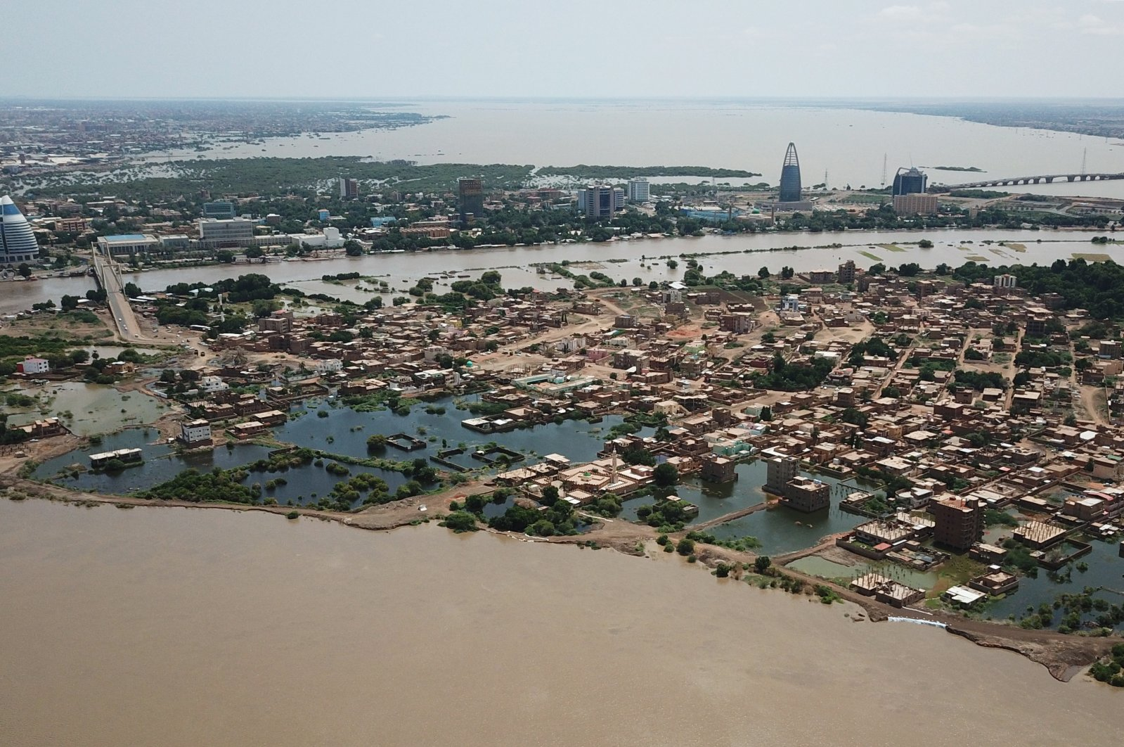 An aerial view shows buildings and roads submerged by floodwaters near the Nile in South Khartoum, Sudan, Sept. 8, 2020. (Reuters Photo)