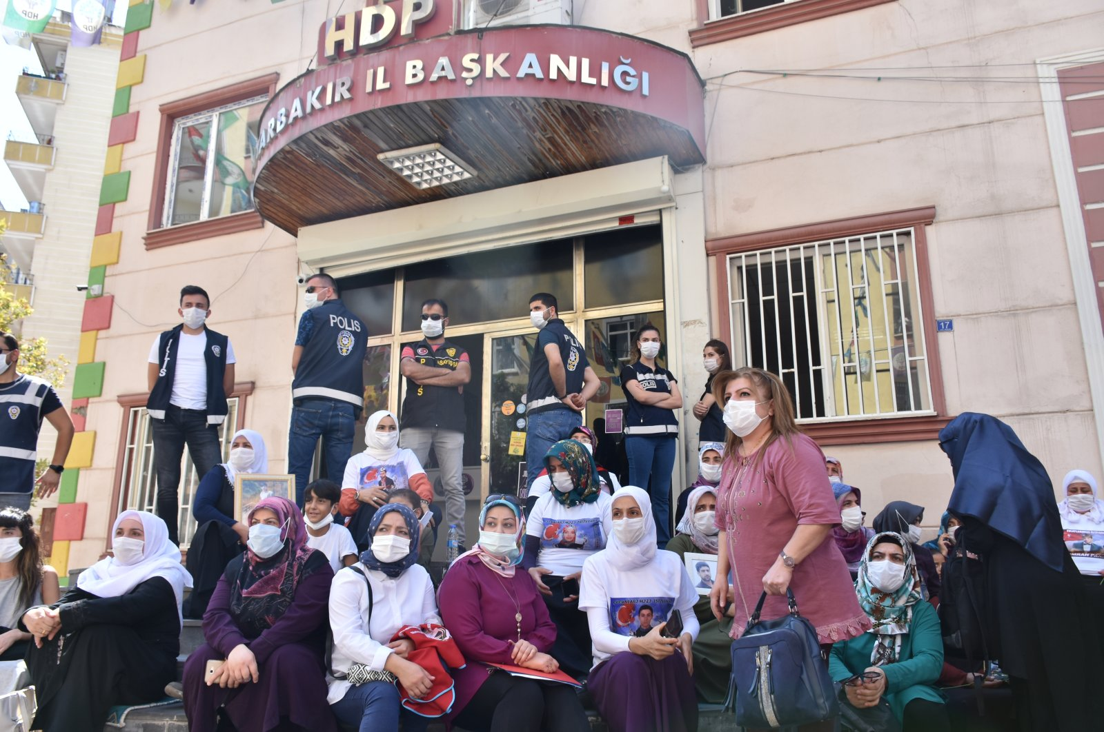 Families stage a sit-in protest in front of the Peoples' Democratic Party's (HDP) headquarters in Diyarbakır, Turkey, Sept. 3, 2020. (AA Photo)