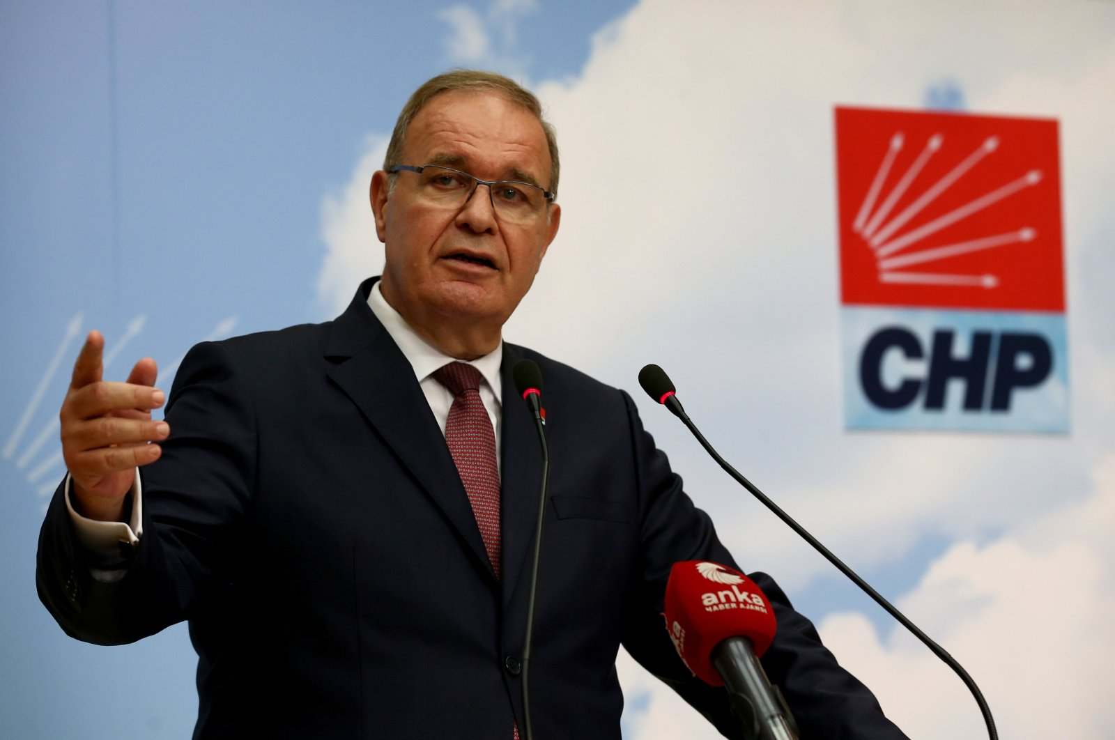 Faik Öztrak, the main opposition Republican People's Party (CHP) vice-chair and spokesperson, speaks during a press conference in the capital Ankara, Sept. 7, 2020. (AA Photo)