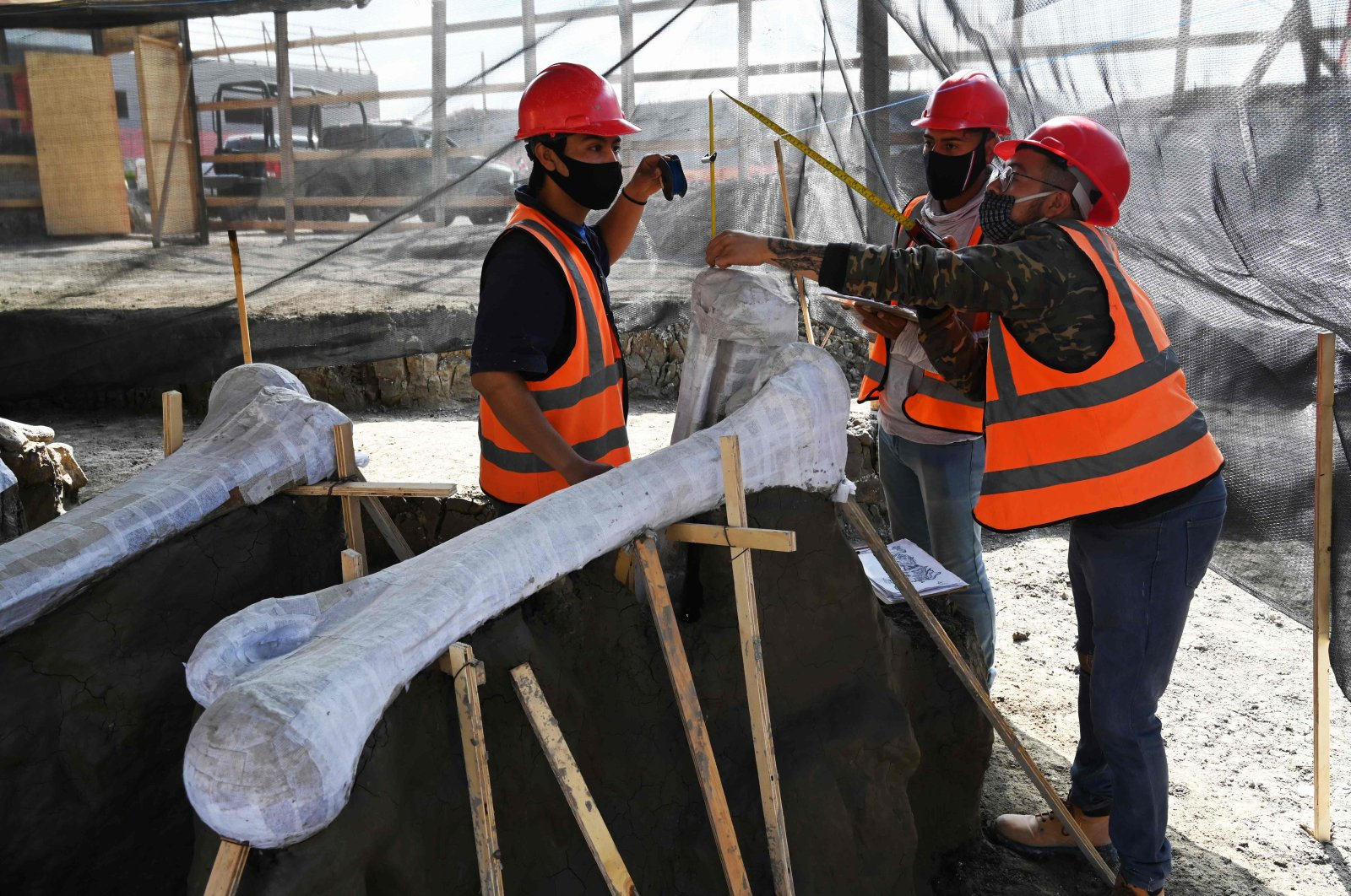Paleontologists of the National Institute of Anthropology work on the preservation of the skeletons of mammoths found during a recent excavation, at the Santa Lucia Military Base in the Municipality of Zumpango, Mexico, on Sept. 8, 2020. (AFP Photo)