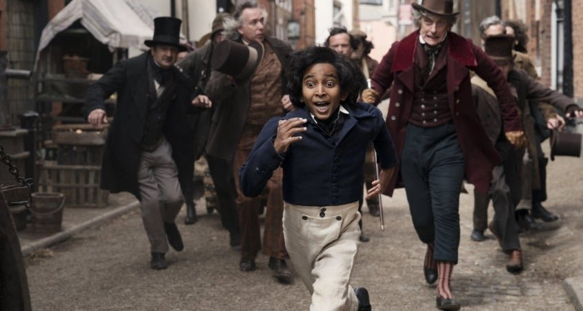 "A scene in 2019 film ""The Personal History of David Copperfield"" featuring Jairaj Varsani as young David Copperfield."