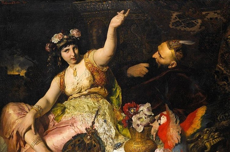 "A painting by German artist Ferdinand Keller showing Scheherazade, a major female character and the storyteller in the frame narrative of ""One Thousand and One Nights"", and Sultan Shahryar, to whom she tells stories."