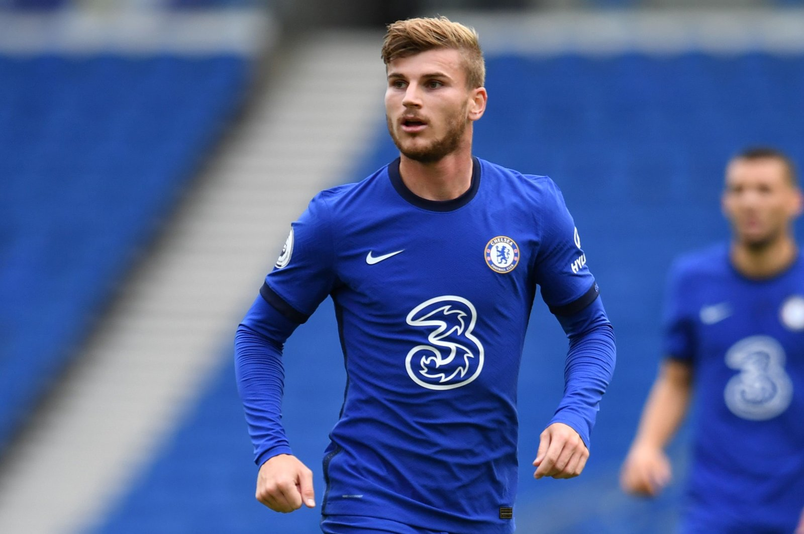 Chelsea's Timo Werner during a pre-season friendly match against Brighton and Hove Albion, in Brighton, England, Aug. 29, 2020. (AFP Photo)