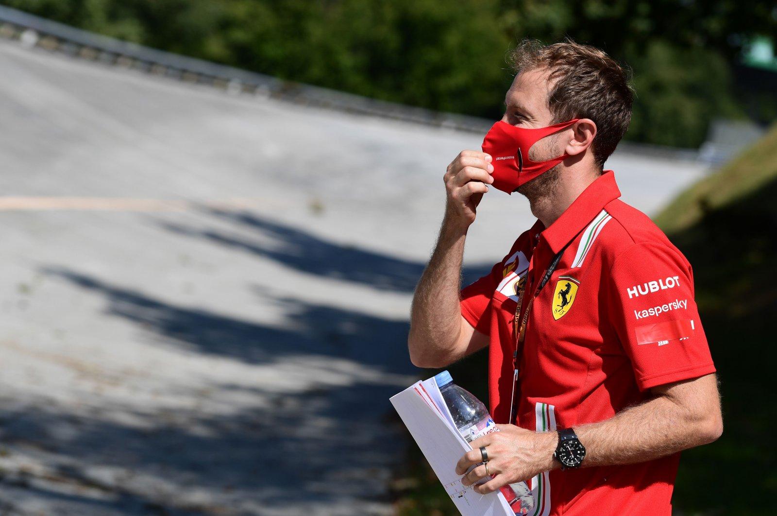 Ferrari's Sebastian Vettel visits the track ahead of the Italian Grand Prix, in Monza, Italy, Sept. 3, 2020. (AFP Photo)