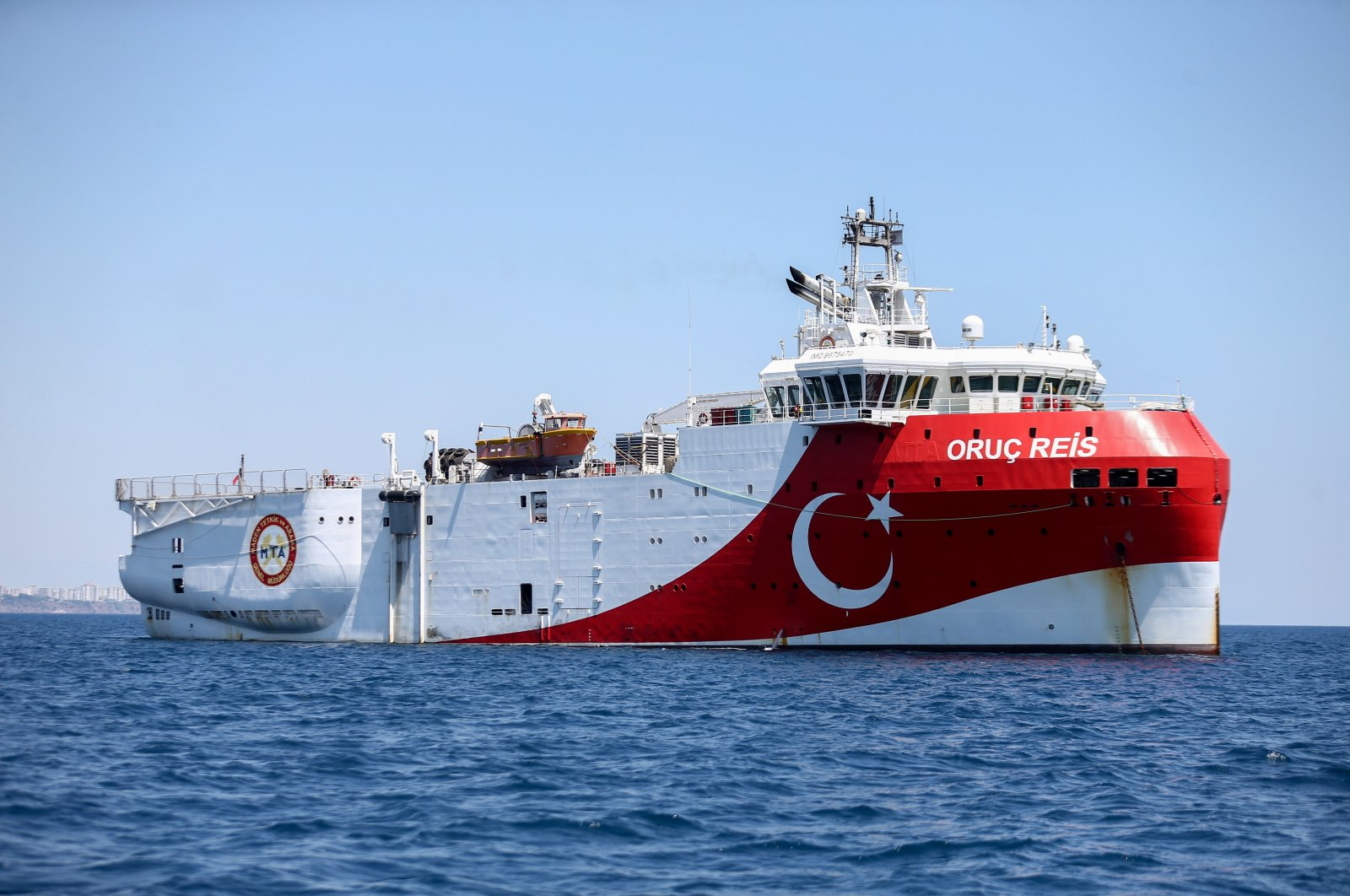 Turkish seismic research vessel Oruç Reis conducts gas exploration activities in the Eastern Mediterranean, July 24, 2020. (AA Photo)