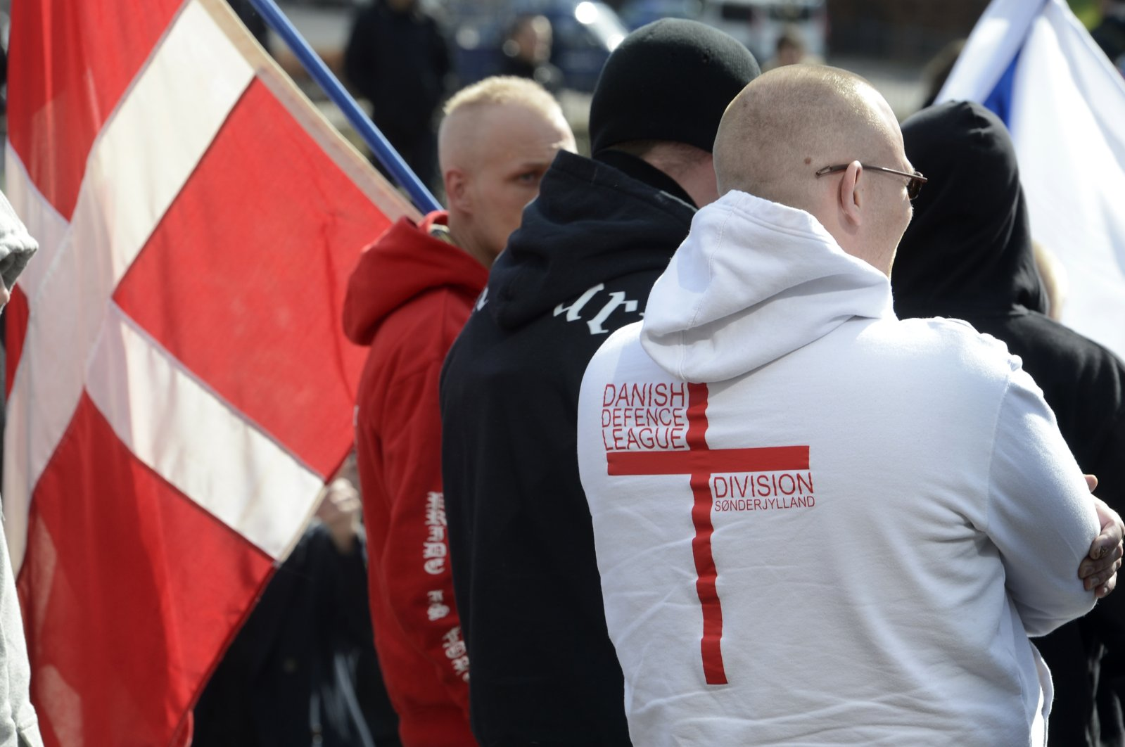 Members of the extremist Danish Defence League gather during a demonstration of right-wing protestors in Aarhus, March 31, 2012. (Reuters Photo)