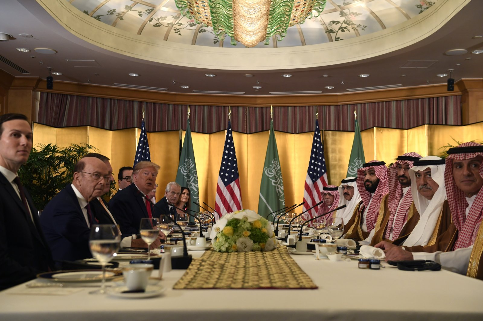 U.S. President Donald Trump meets with Saudi Arabia Crown Prince Mohammed bin Salman (MBS) during a working breakfast on the sidelines of the G-20 summit in Osaka, Japan, June 29, 2019. (AP Photo)