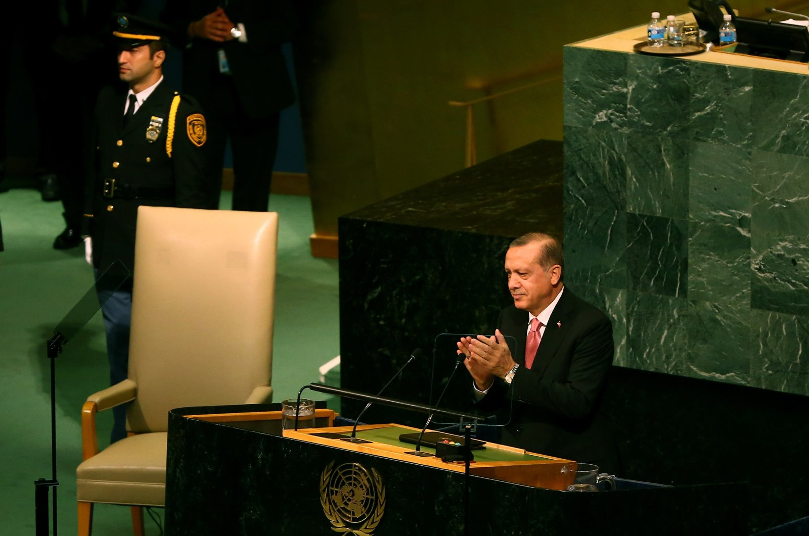 President Recep Tayyip Erdoğan speaks during the United Nations General Assembly in New York, New York, U.S., Sept. 19, 2017. (Photo provided by the Presidency of the Republic of Turkey)