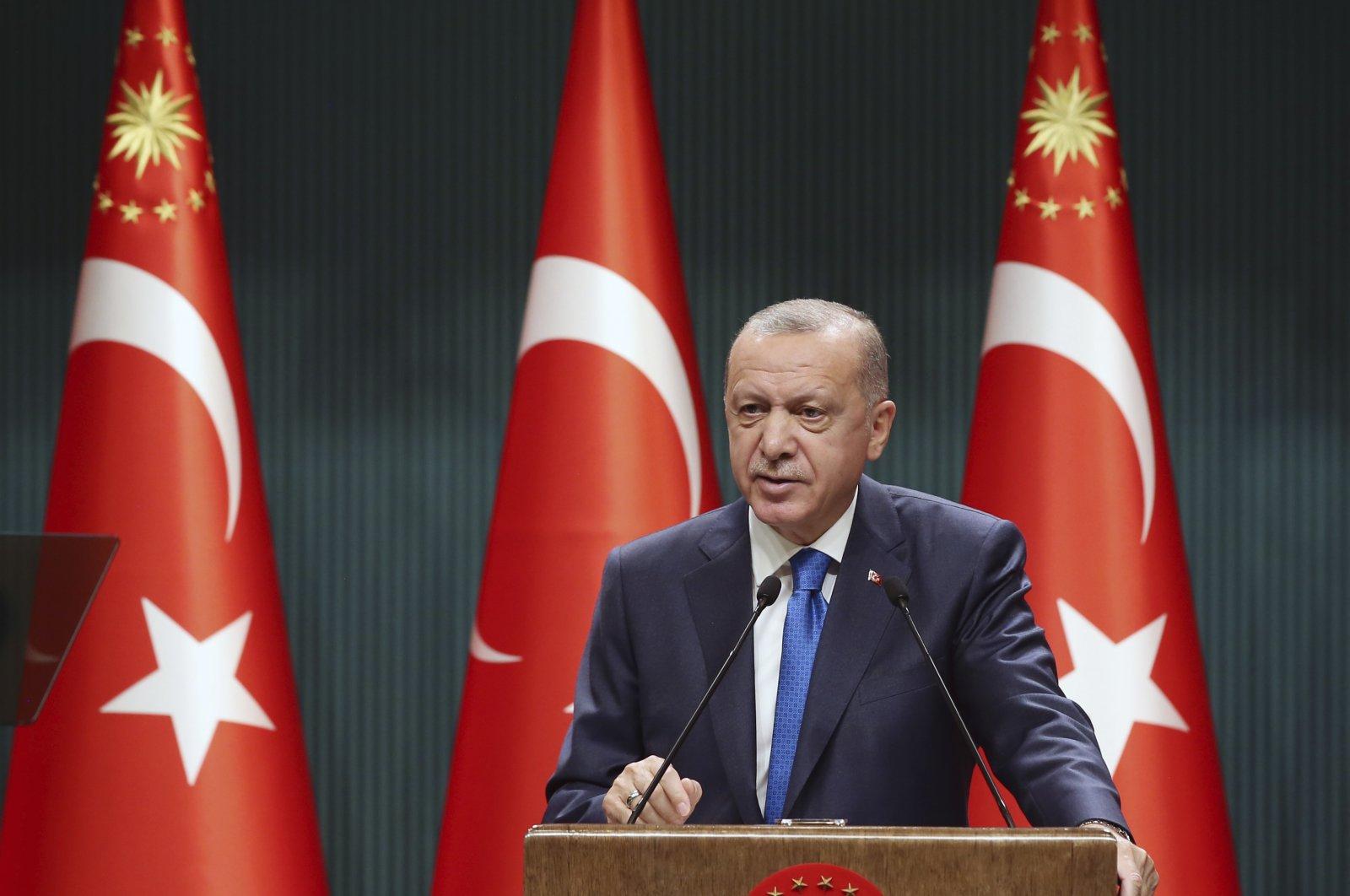 President Recep Tayyip Erdoğan speaks after a Cabinet meeting in the capital Ankara, Sept. 7, 2020. (AP Photo)