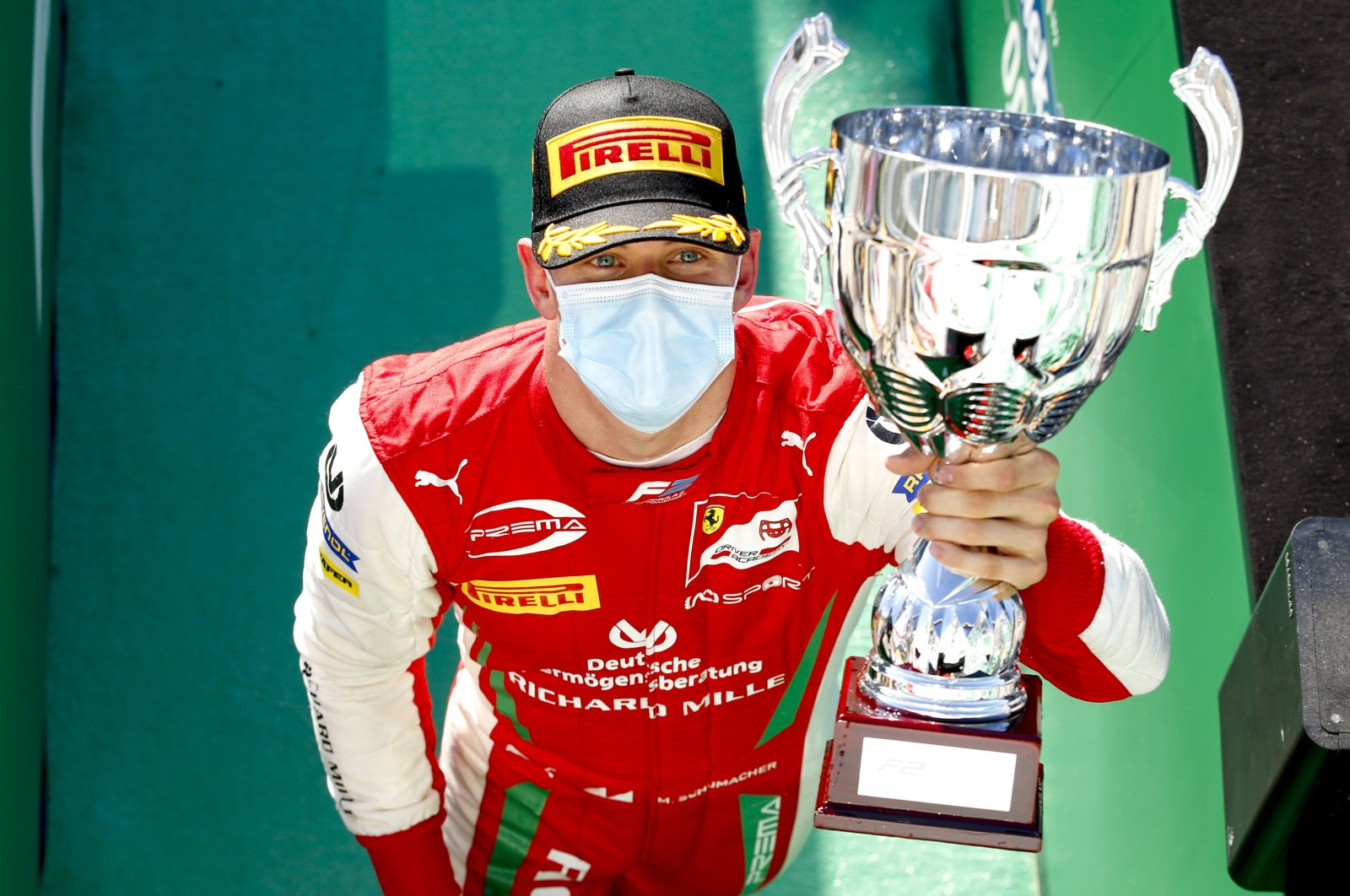 Mick Schumacher celebrates winning the Formula 2 race in Monza, Italy, Sept. 5, 2020. (Reuters Photo)