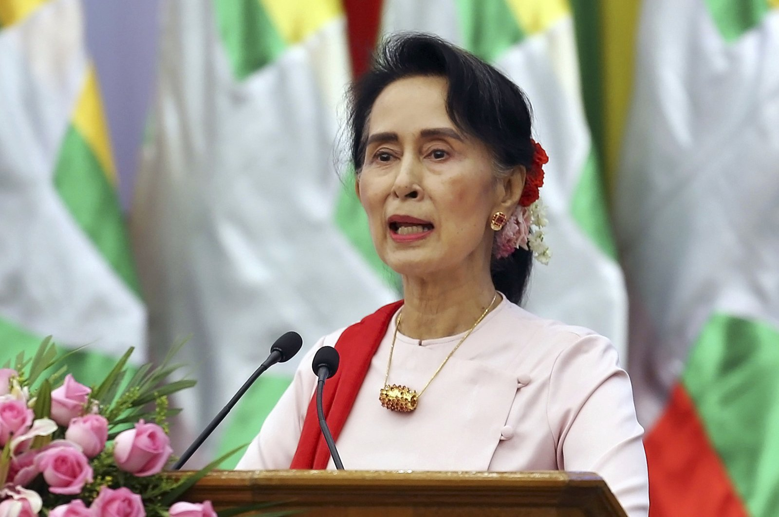 Myanmar's State Counselor Aung San Suu Kyi delivers an opening speech during the Forum on Myanmar Democratic Transition in Naypyitaw, Myanmar, Aug. 11, 2017. (AP Photo)