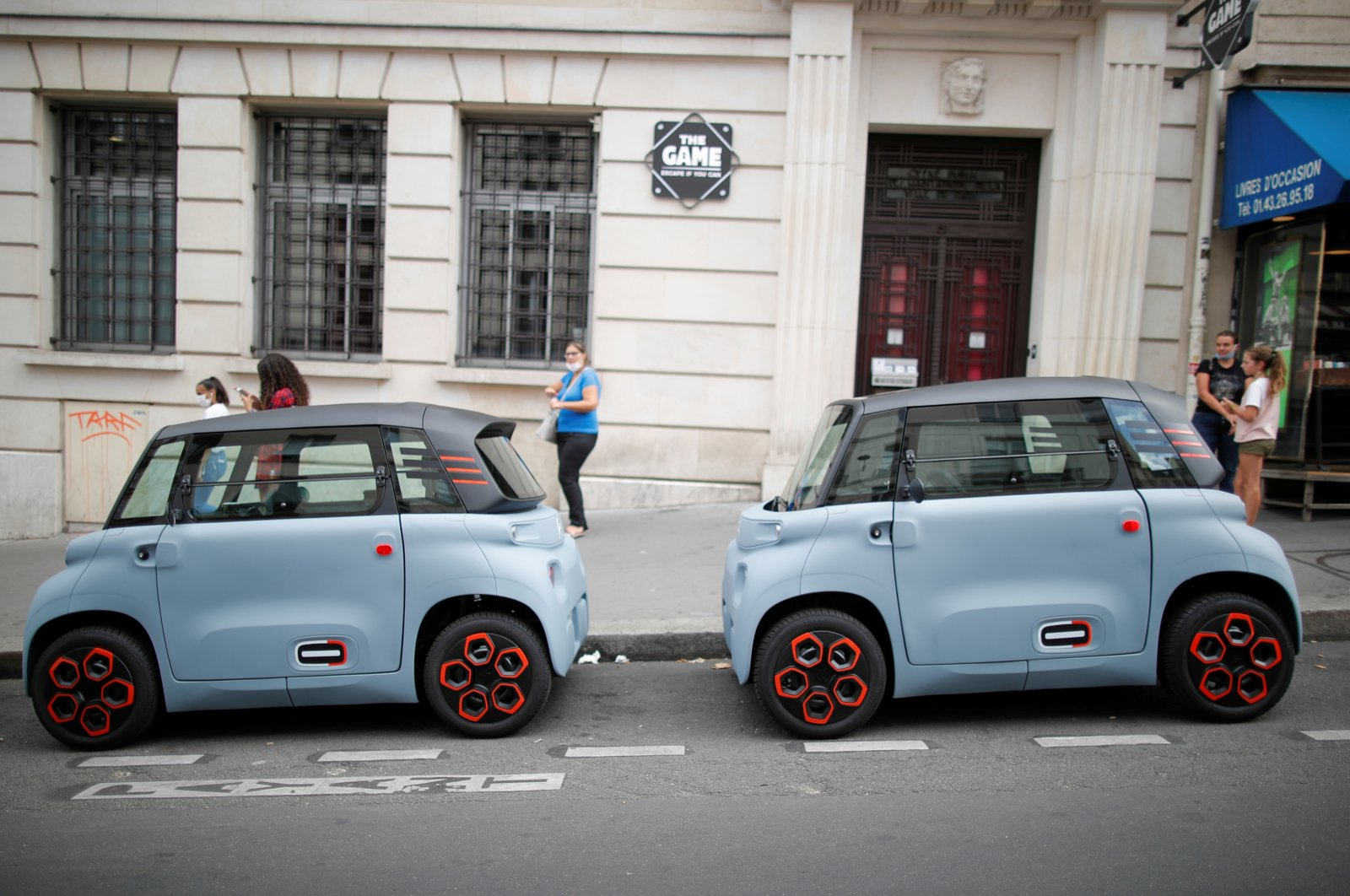 PSA's Citroen new electric city cars AMI are seen during a media presentation in Paris, France, Aug. 25, 2020. (Reuters Photo)