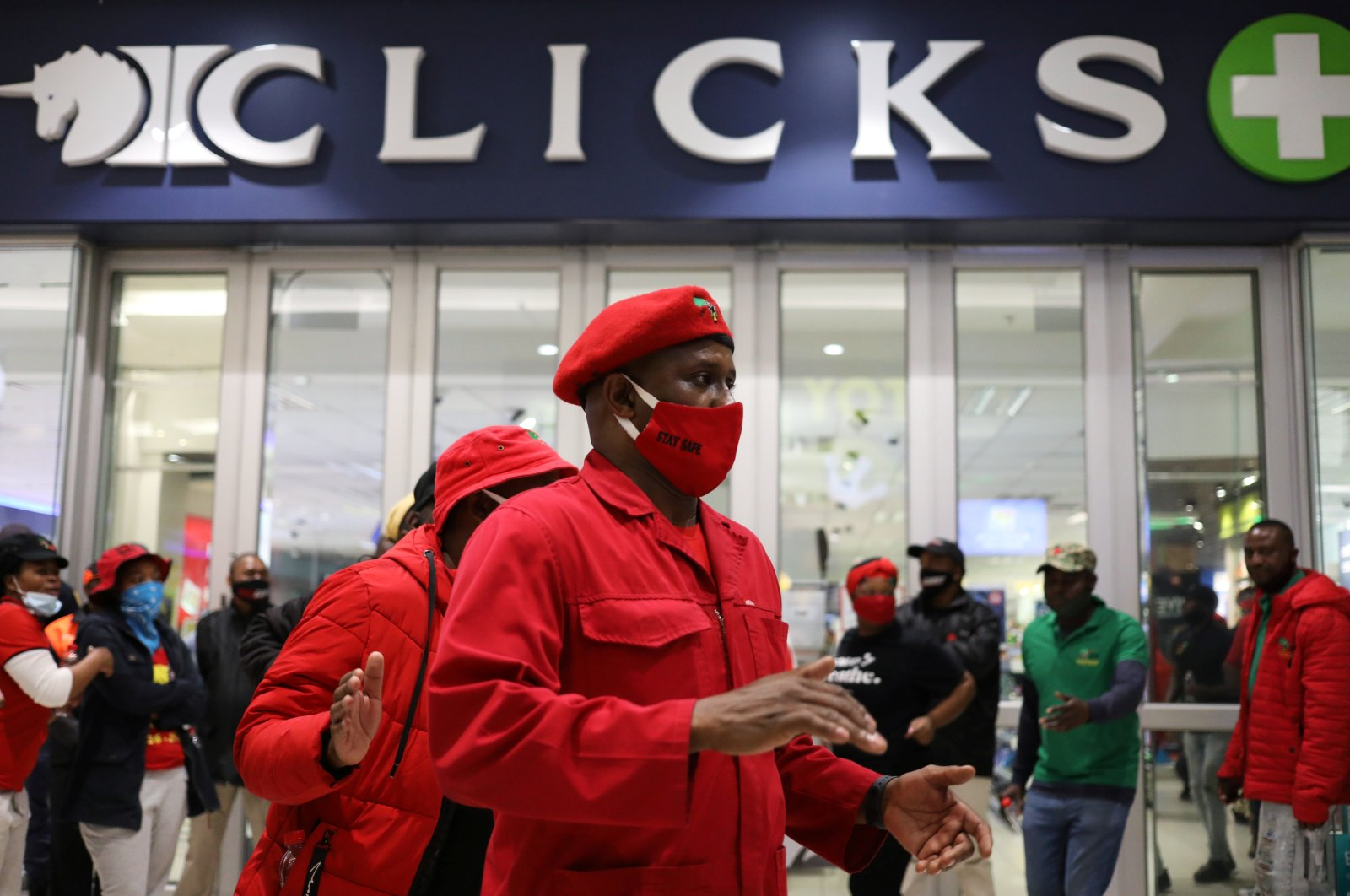 Members of the opposition Economic Freedom Front (EFF) protest outside a branch of drug store chain Clicks in Johannesburg, South Africa, Sept. 7, 2020. (Reuters Photo)