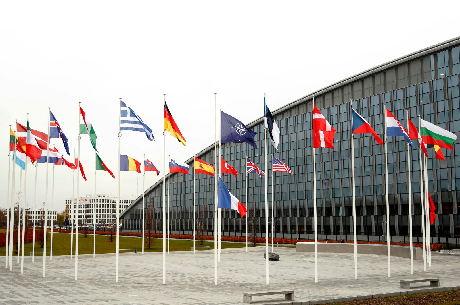 Flags of NATO member countries at its headquarters in Brussels, Belgium, Nov. 26, 2019.  (REUTERS Photo)