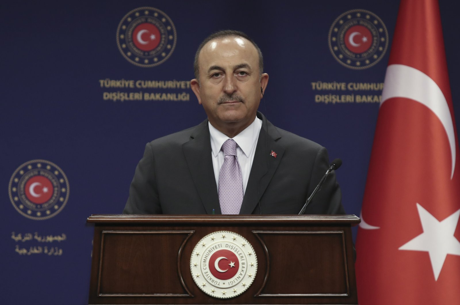 Turkey's Foreign Minister Mevlüt Çavuşoğlu speaks during a news conference with Jean Claude Gakosso, Minister of Foreign Affairs of the Republic of Congo, in Ankara, Sept. 8, 2020. (AP Photo)