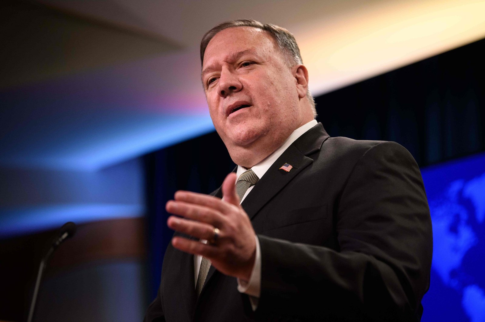 U.S. Secretary of State Mike Pompeo speaks during his weekly briefing at the State Department in Washington, D.C., Sept. 2, 2020. (AFP Photo)