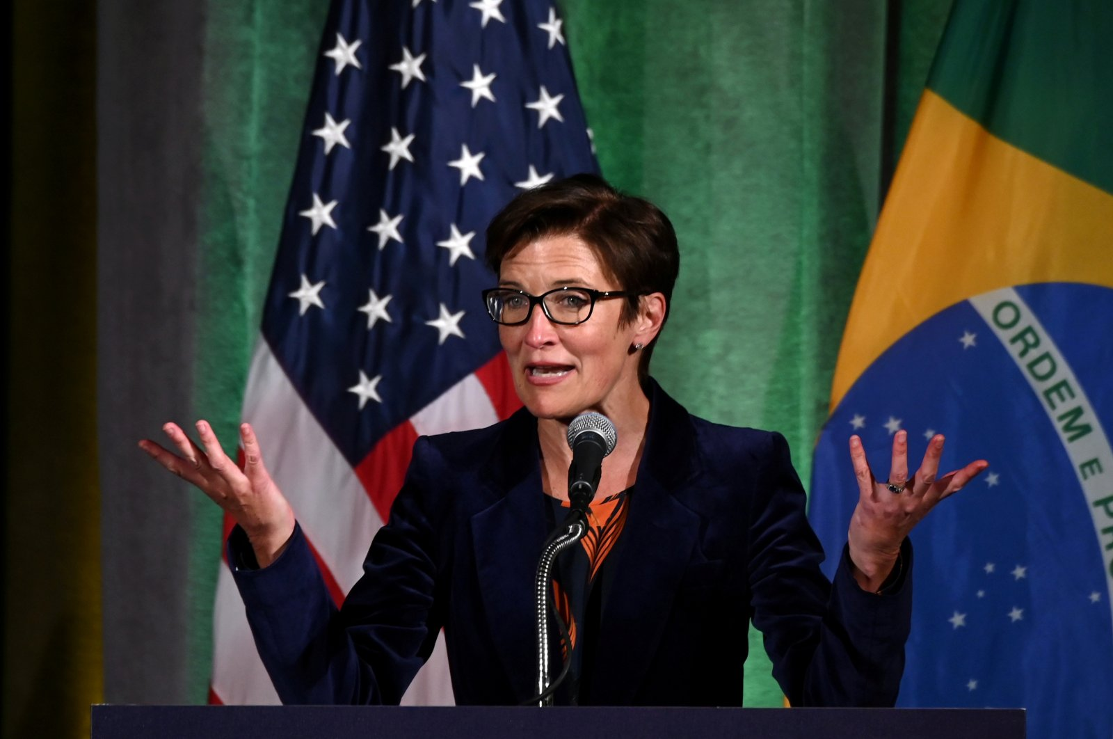 Citigroup's then-Latin America CEO Jane Fraser addresses a Brazil-U.S. Business Council forum to discuss relations and future cooperation in Washington, D.C., U.S., March 18, 2019. (Reuters Photo)