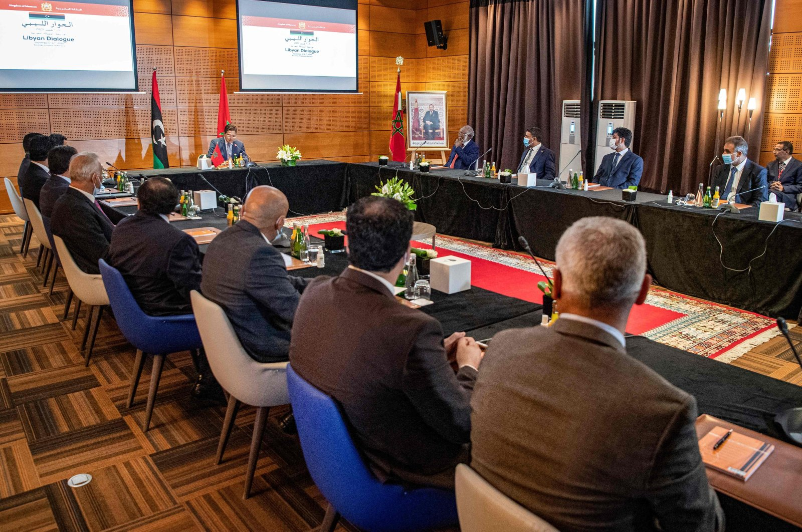 Nasser Bourita, Morocco's Minister of Foreign Affairs and International Cooperation, chairs a meeting of representatives of Libya's rival administrations in the coastal town of Bouznika, south of Rabat, on Sept. 6, 2020. (AFP Photo)