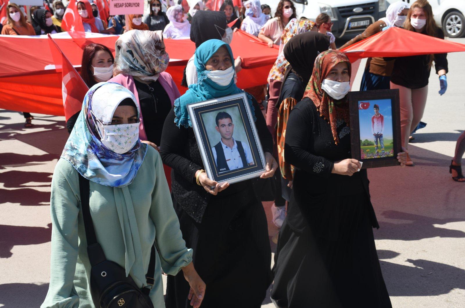 Women march in protest of the PKK terrorist group in southeastern Şırnak province, Turkey, Sept. 10, 2020. (AA Photo)
