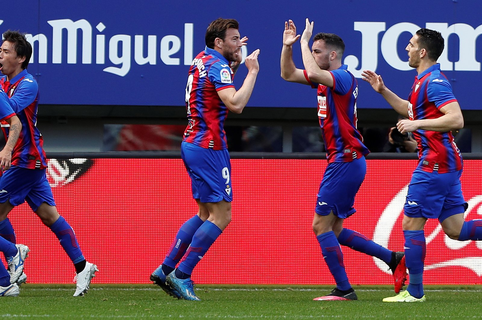 Eibar players celebrate a goal during a La Liga match against Real Betis, in Aibar, Spain, Feb. 2, 2020. Eibar will host Celta Vigo for La Liga's season opener on Saturday. (EPA Photo)