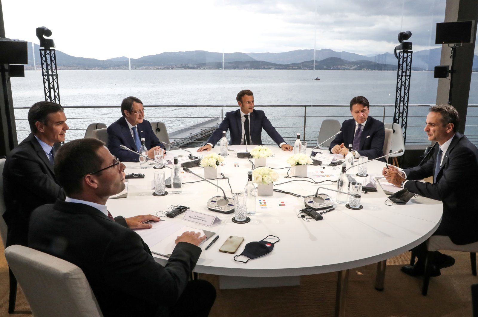 The plenary session of the EuroMed 7 summit opens with (from L to R) Malta's Prime Minister Robert Abela, Spain's Prime Minister Pedro Sanchez, Greek Cypriot leader Nicos Anastasiades, French President Emmanuel Macron, Italian Prime Minister Giuseppe Conte and Greek Prime Minister Kyriakos Mitsotakis in attendance, in Porticcio, Corsica, France, Sept. 10, 2020. (Reuters Photo)