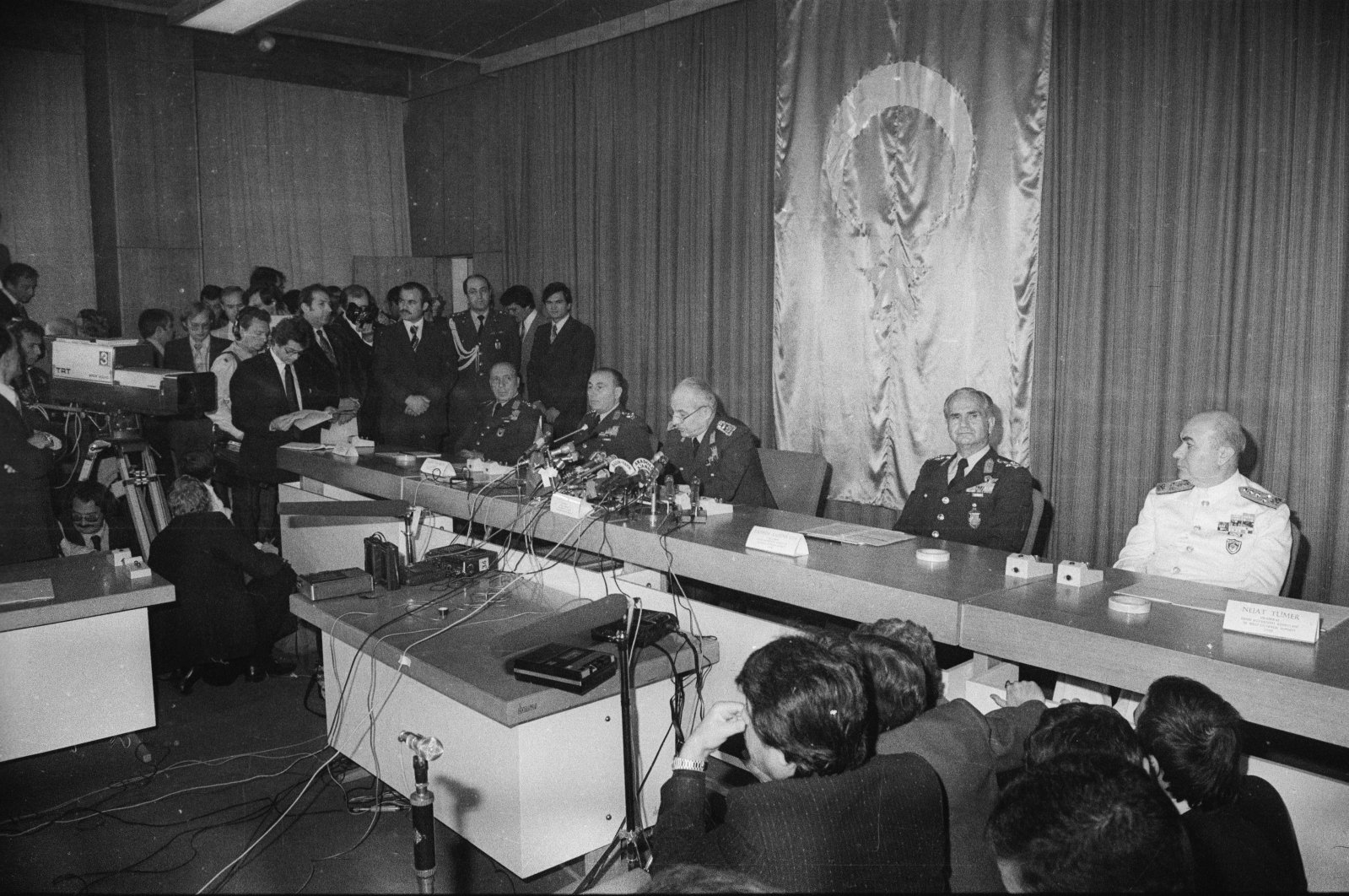 Junta leaders at a press conference where they announce the coup at Parliament, in the capital Ankara, Turkey, Sept. 12, 1980. (AA Photo)
