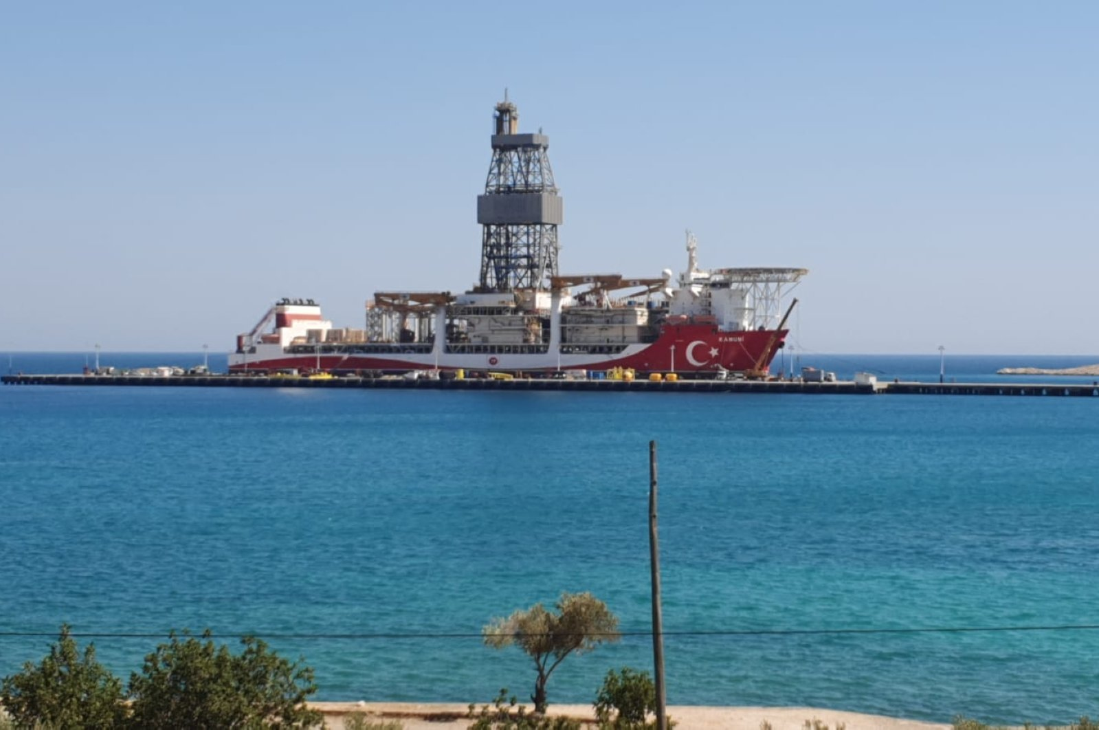 Turkey's third drillship Kanuni docked at the NATO port in Incekum in the Silifke district of Mersin province, southern Turkey, Sept. 11, 2020. (DHA Photo)