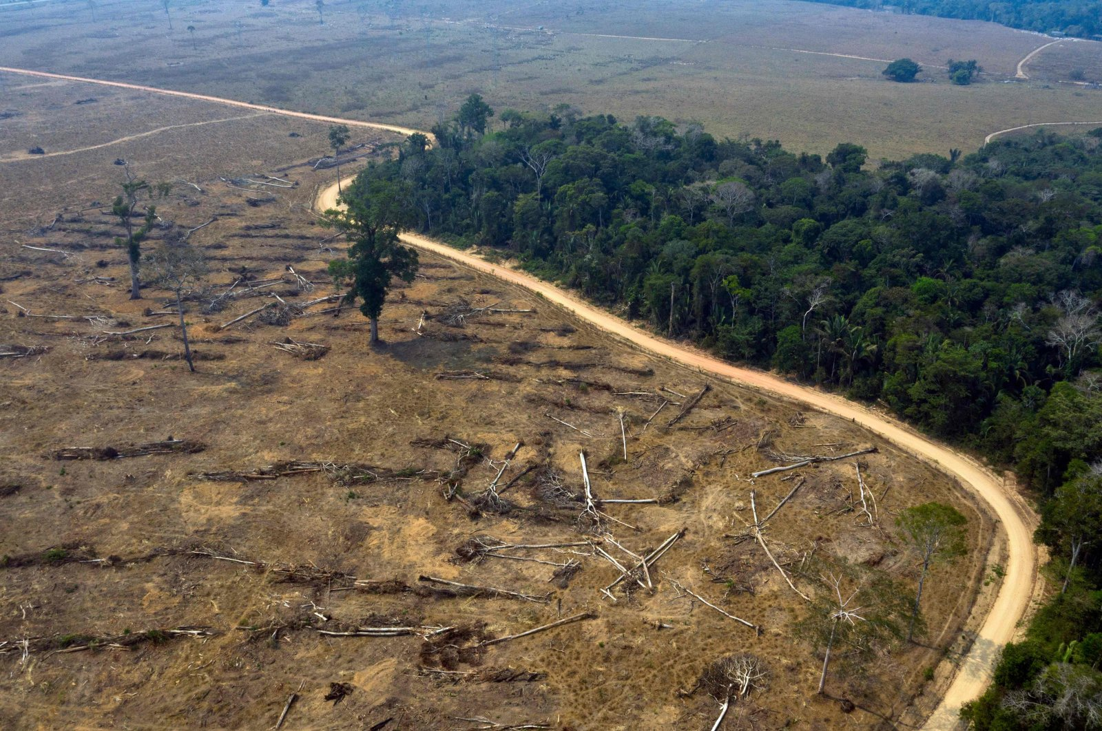 This file picture shows an aerial view of burnt areas of the Amazon rainforest, near Porto Velho, Rondonia State, Brazil, Aug. 24, 2019. (AFP Photo)