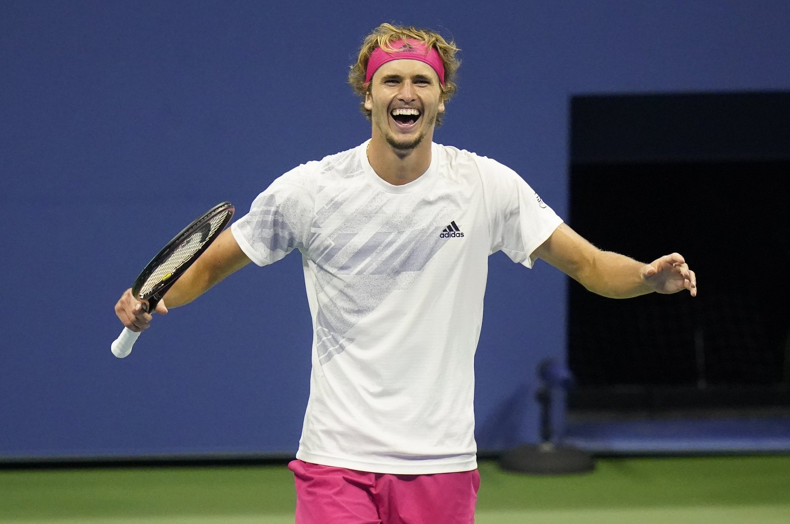 Alexander Zverev, of Germany, reacts after defeating Pablo Carreno Busta, of Spain, during a men's semifinal match of the US Open tennis championships, Friday, Sept. 11, 2020, in New York. (AP Photo)