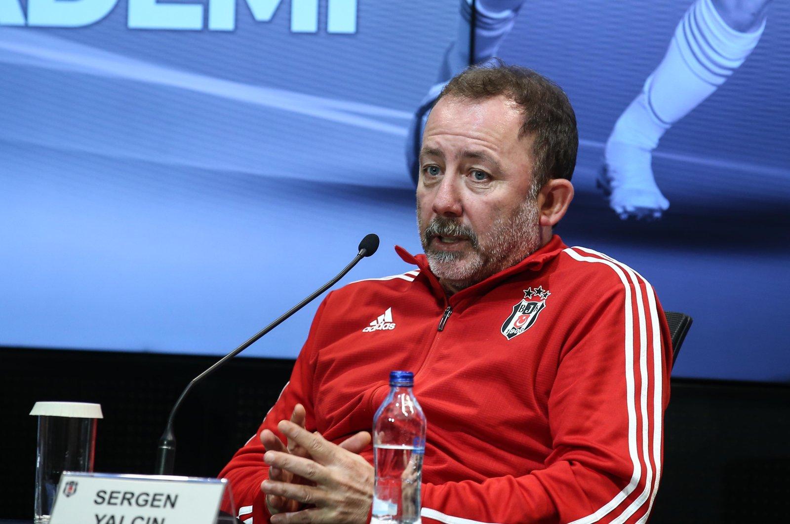 Beşiktaş coach Sergen Yalçın speaks during a news conference at Vodafone Park, Istanbul, Sept. 10, 2020. (AA Photo)