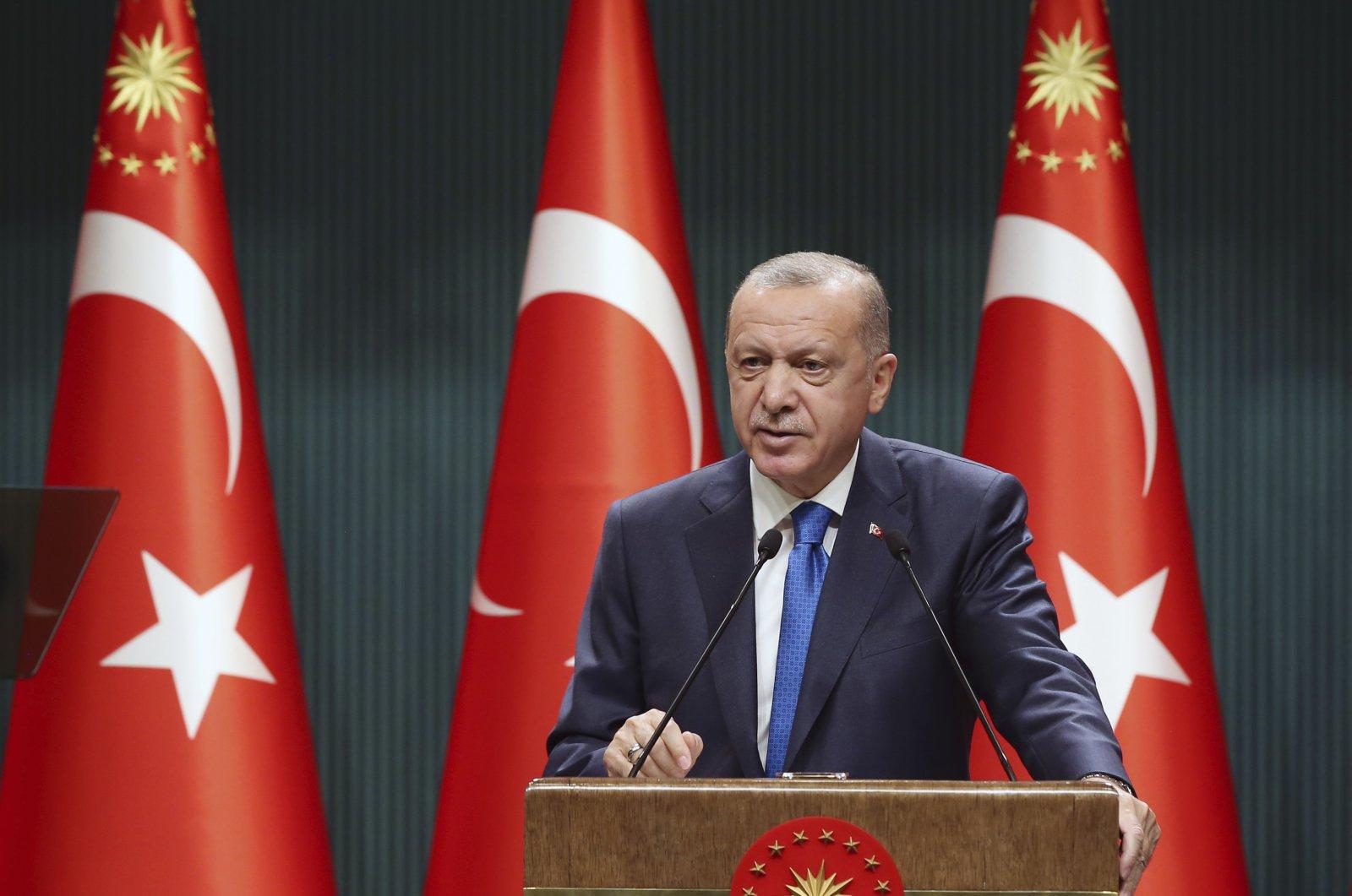 President Recep Tayyip Erdoğan speaks after a Cabinet meeting in Ankara, Turkey, Monday, Sept. 7, 2020. (AP Photo)