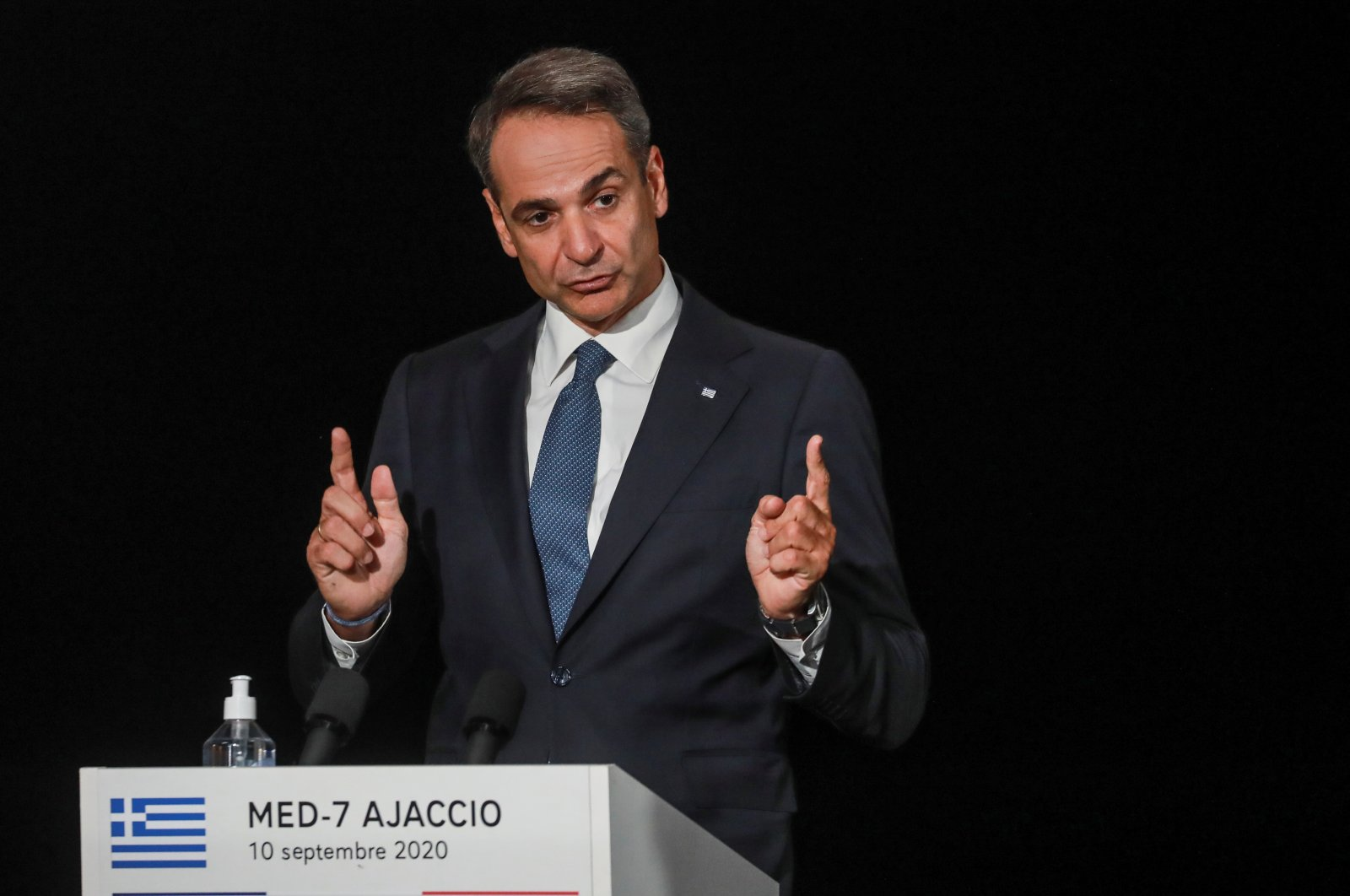 Greek Prime Minister Kyriakos Mitsotakis speaks during the closing news conference of the seventh MED7 Mediterranean countries summit, in Porticcio, on the Mediterranean Island of Corsica, France September 10, 2020. (Reuters Photo)