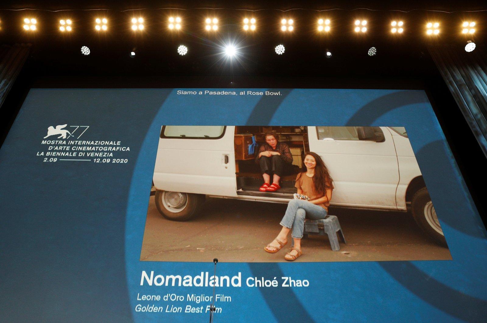 "Director Chloe Zhao wins the Golden Lion award for Best Film ""Nomadland,"" Sept. 12, 2020. (Reuters Photo)"