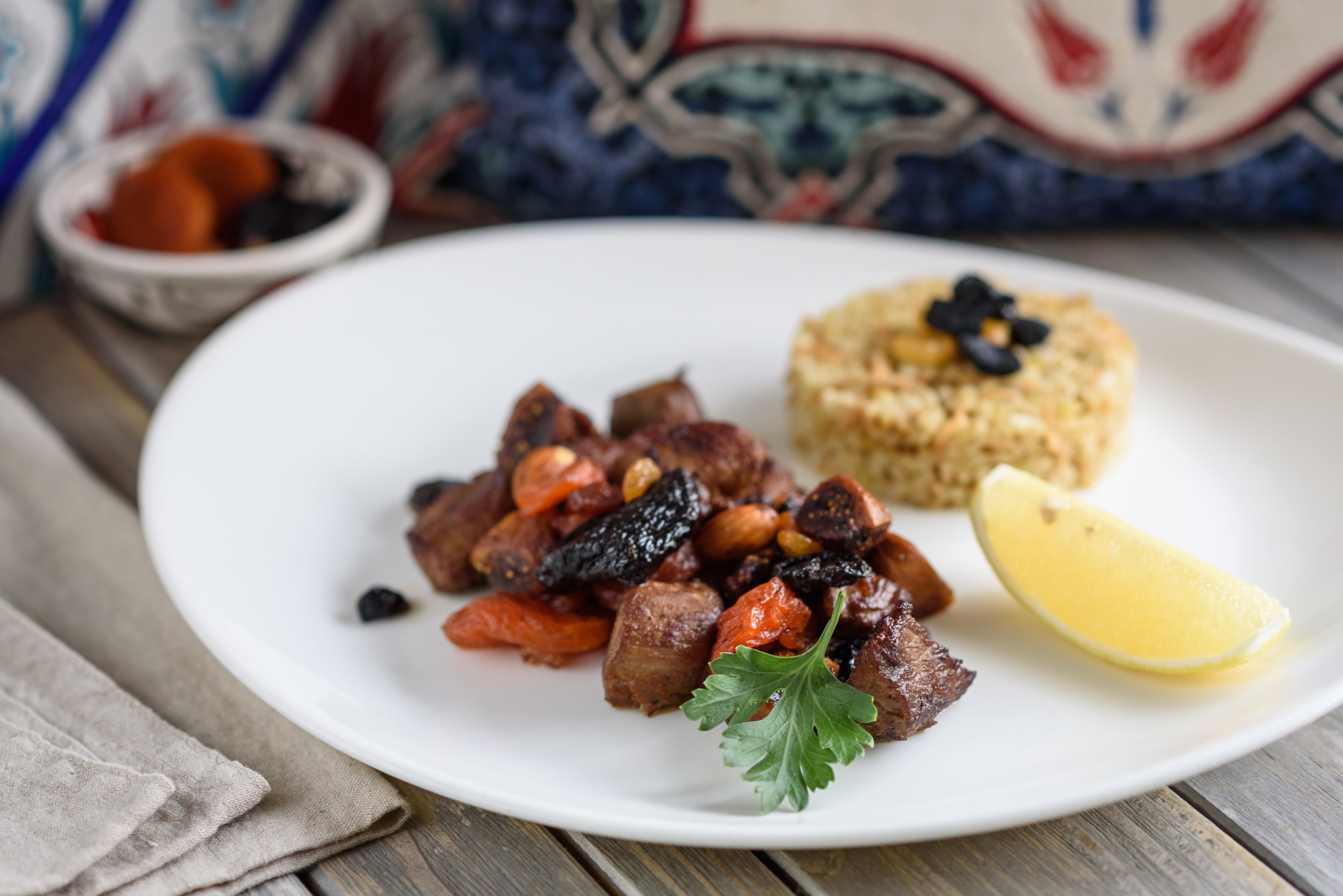Mutancana is a traditional Turkish lamb stew with dried figs, apricots, almonds and raisins. (Shutterstock Photo)