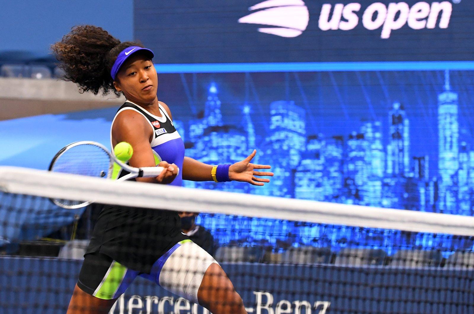 Naomi Osaka hits the ball during women's singles final match, in New York, New York, U.S., Sept. 12, 2020.  (REUTERS Photo)