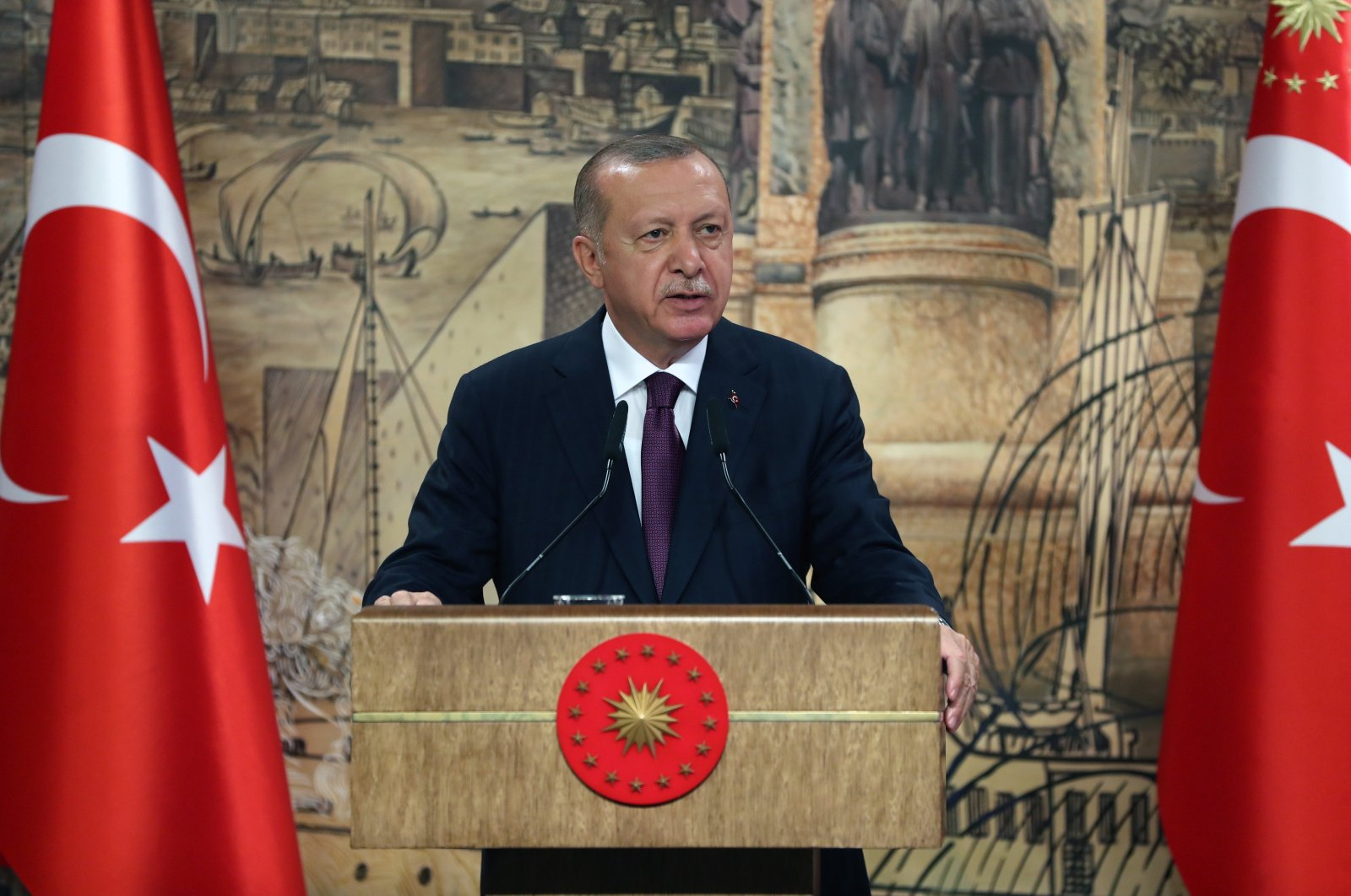 A handout photo made available by the Turkish Presidency Press Office shows Turkish President Recep Tayyip Erdoğan speaking during a press conference as he announces the biggest natural gas discovery in history in Istanbul, Turkey, Aug. 21, 2020. (EPA via Turkish Presidency Press Office)