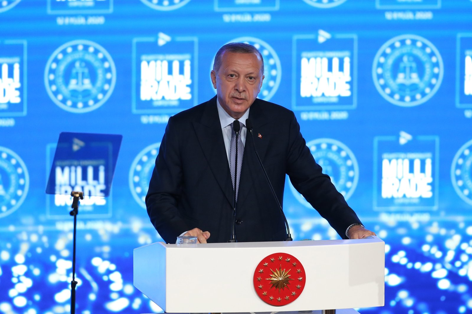President Recep Tayyip Erdoğan speaks during a meeting on Democracy and Freedom Island in the waters near Istanbul, Turkey, Sept. 12, 2020. (AA Photo)