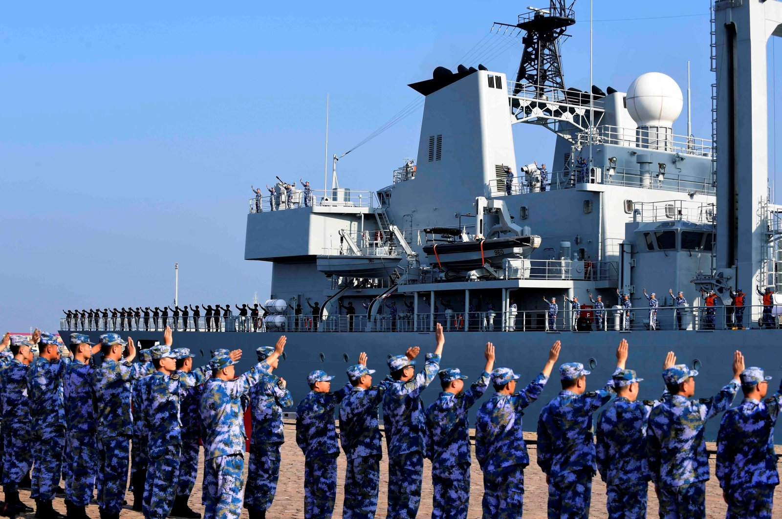 Soldiers of the Chinese People's Liberation Army (PLA) Navy take part in a ceremony at a naval port in Qingdao, Shandong province, China, Sept. 3, 2020. (REUTERS Photo)