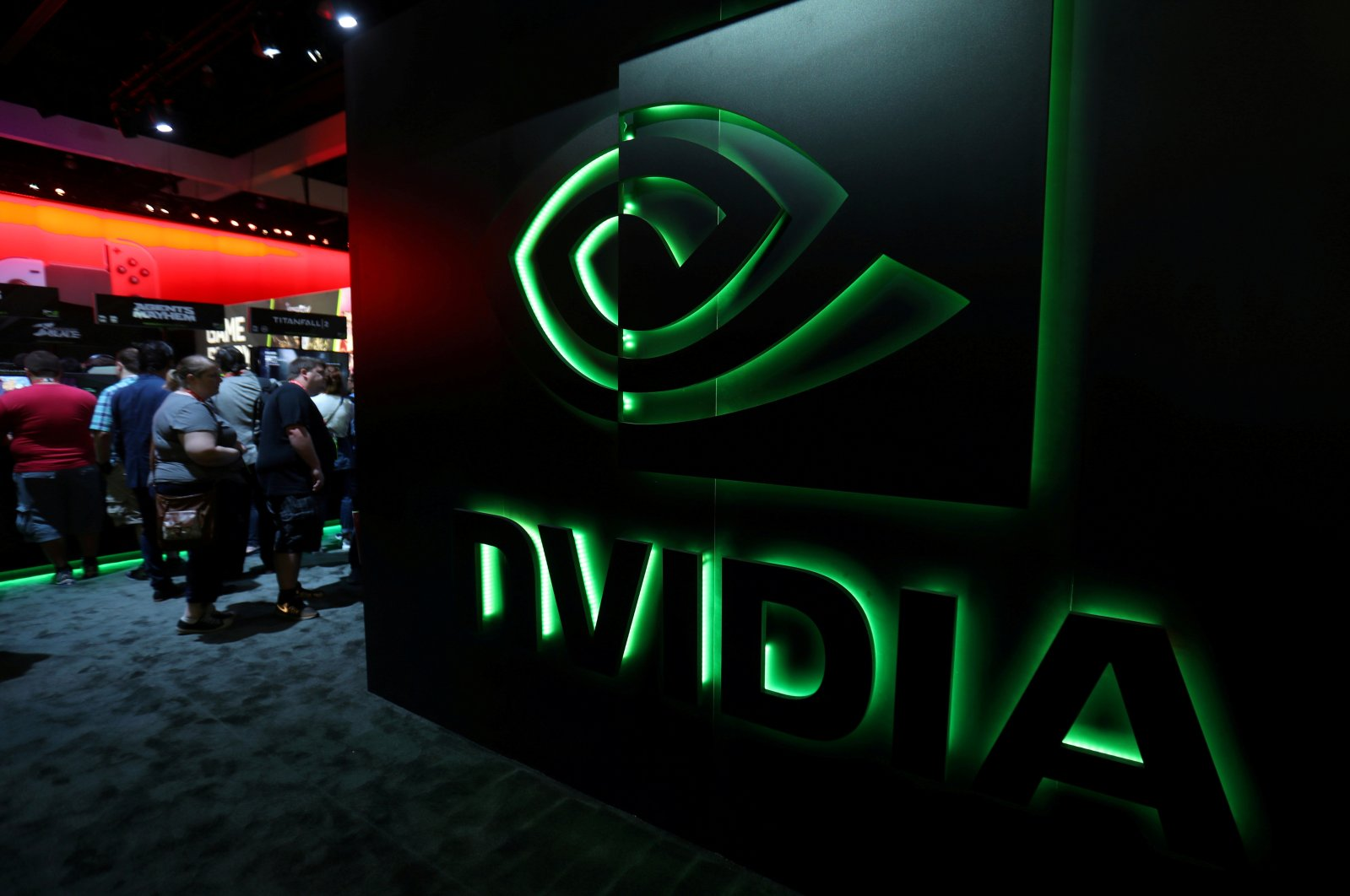 The Nvidia booth is shown at the E3 2017 Electronic Entertainment Expo in Los Angeles, California, U.S., June 13, 2017. (Reuters Photo)