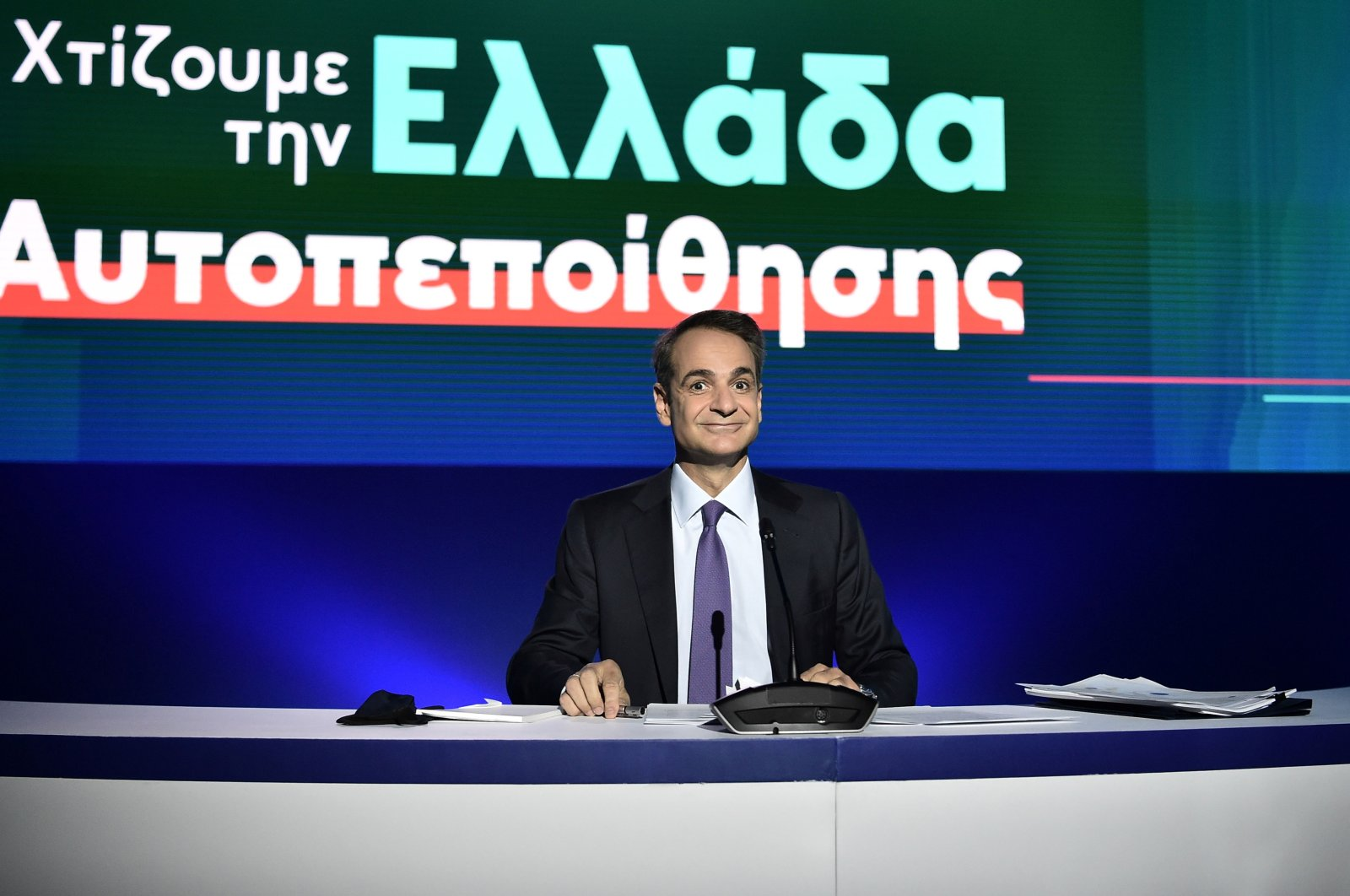 Greek Prime Minister Kyriakos Mitsotakis speaks during a news conference on state defense and economy program at the Thessaloniki Helexpo Forum on Sept. 13, 2020. (AFP Photo)